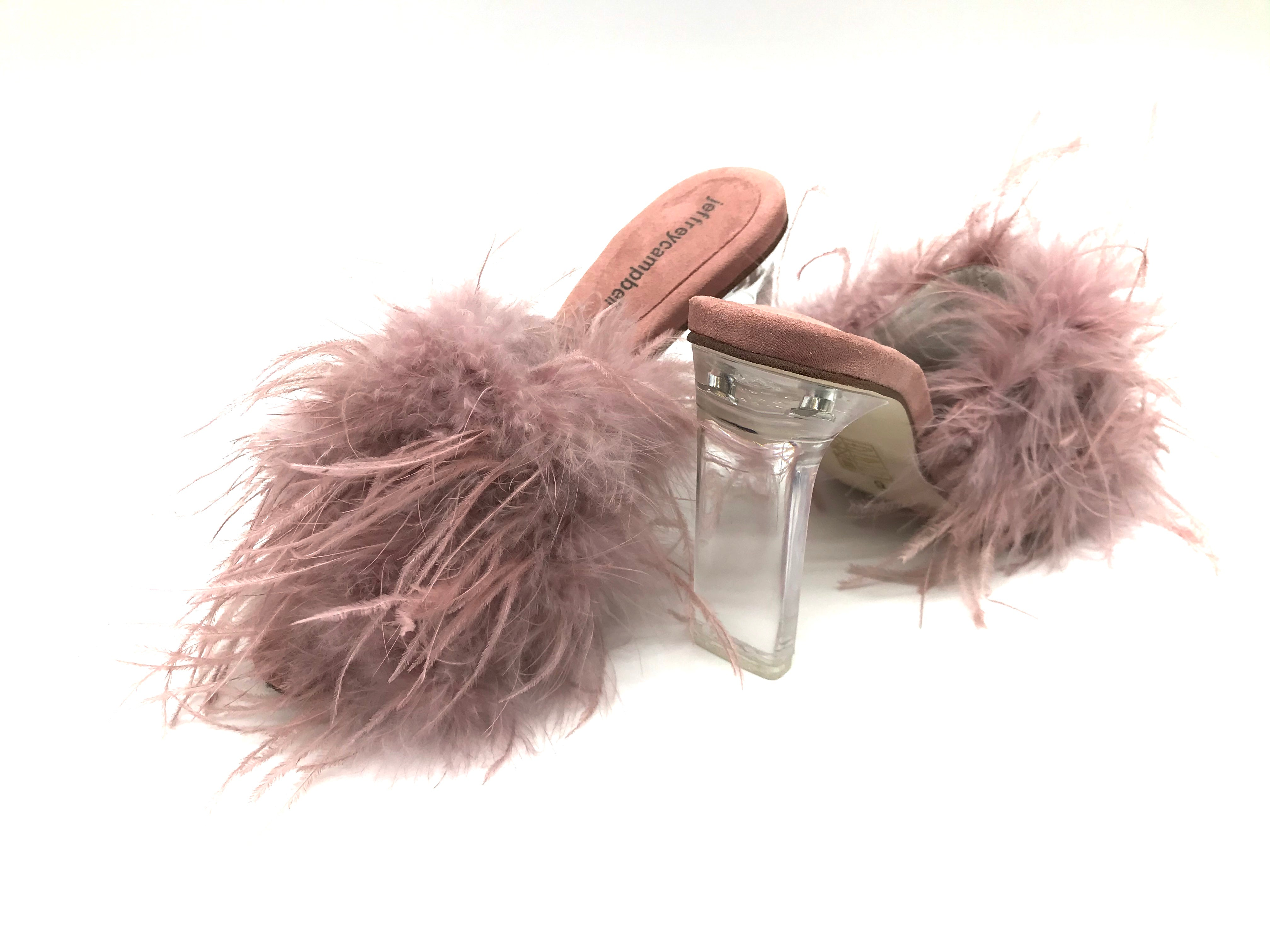 Photo #1 - BRAND: JEFFERY CAMPBELL <BR>STYLE: SANDALS LOW <BR>COLOR: LIGHT PINK <BR>SIZE: 6 <BR>SKU: 262-26241-41920<BR><BR>DYED TURKEY & OSTRICH FEATHERS
