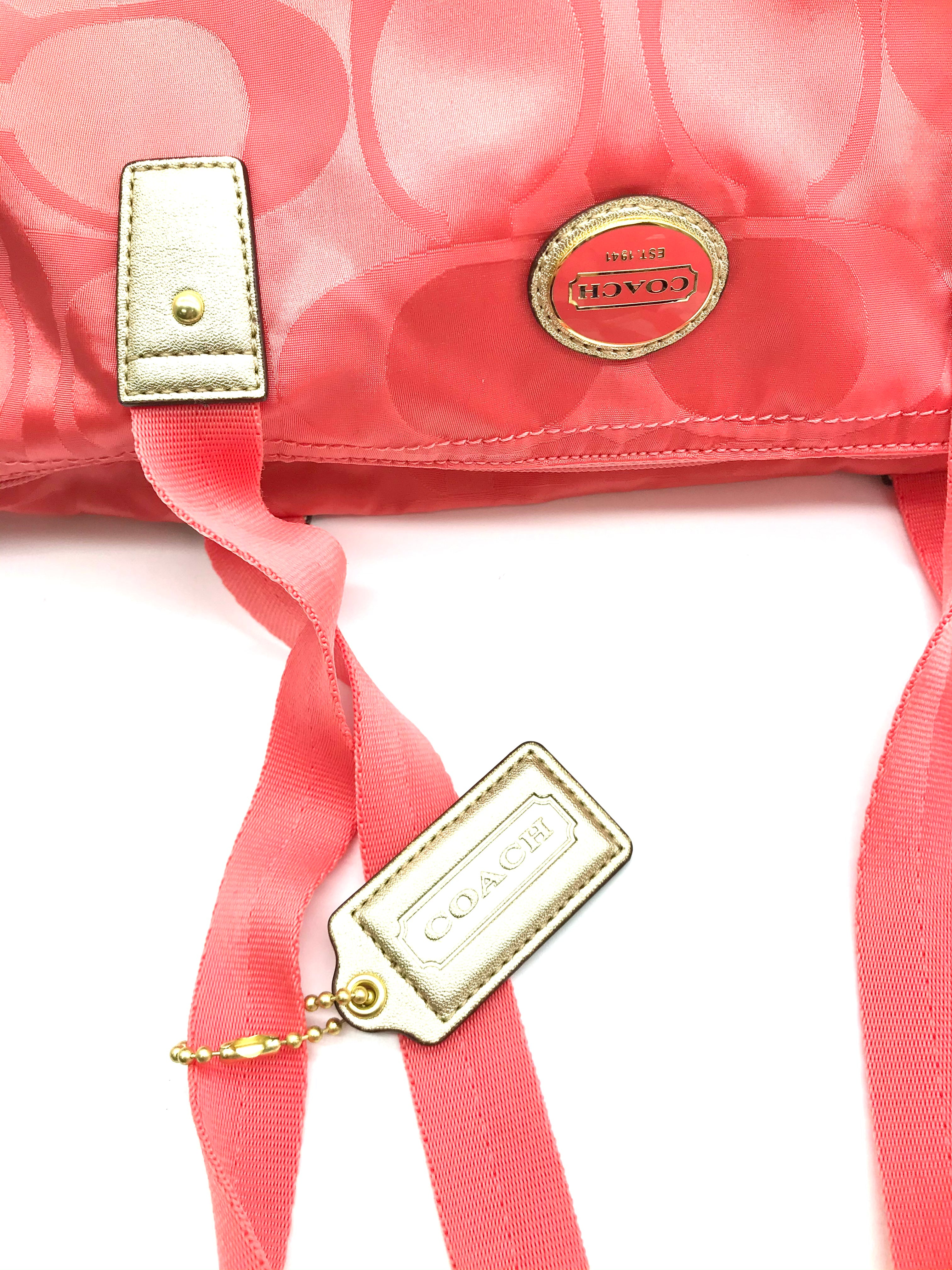 "Photo #3 - BRAND: COACH <BR>STYLE: HANDBAG DESIGNER <BR>COLOR: PEACH <BR>SIZE: LARGE <BR>SKU: 262-26211-131031<BR><BR>APPROX. 17.75""L X 11""H X 7""D. INCLUDES DETACHABLE INTERIOR POUCH APPROX. 10""L X 7.25""H. GENTLE WEAR ON BACK"