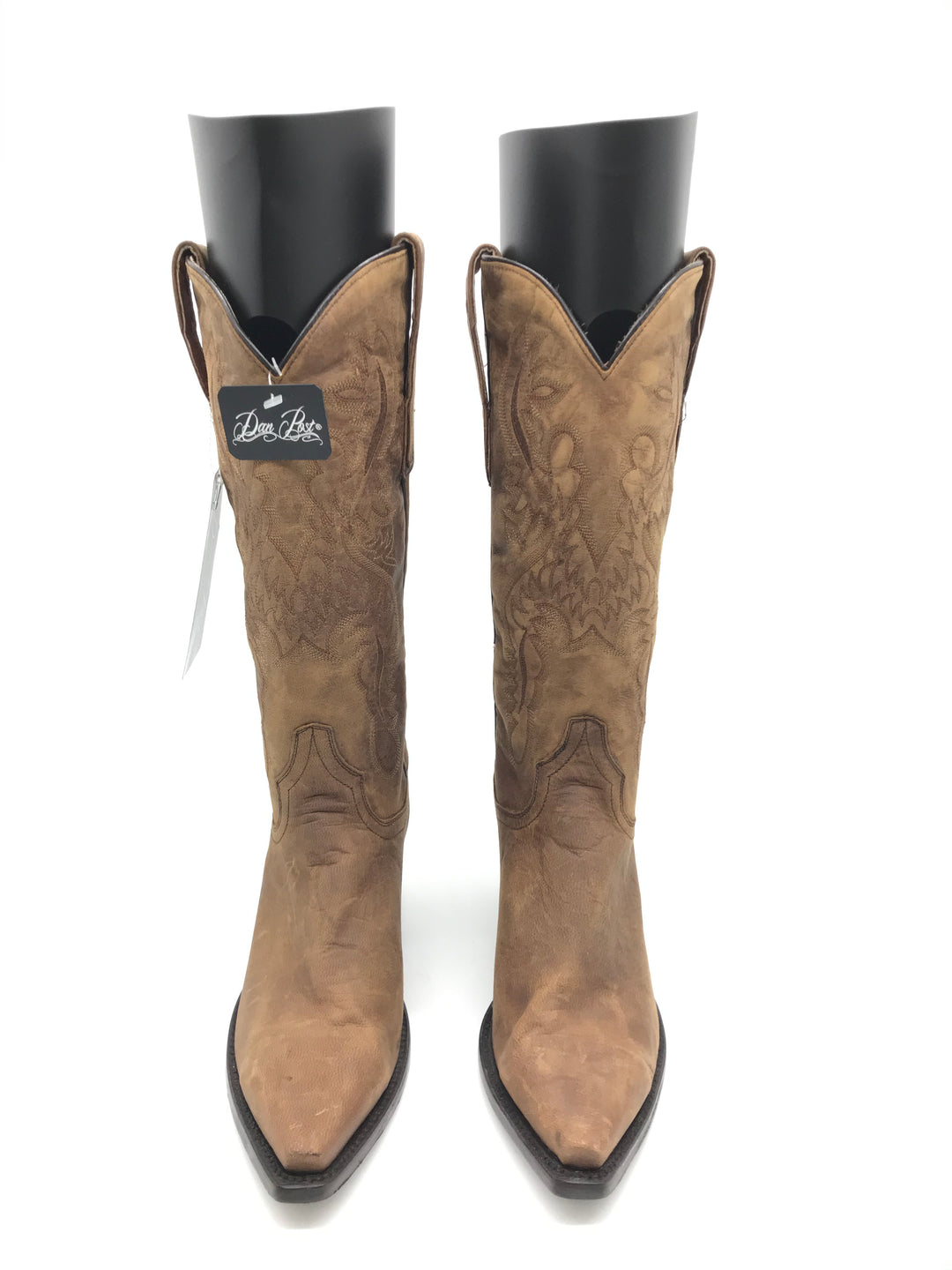 Photo #1 - BRAND: DAN POST <BR>STYLE: BOOTS KNEE <BR>COLOR: BROWN <BR>SIZE: 7 <BR>SKU: 262-26275-70166<BR>SOME GENTLE CRACK ON SIDE PIPINGS • AS IS