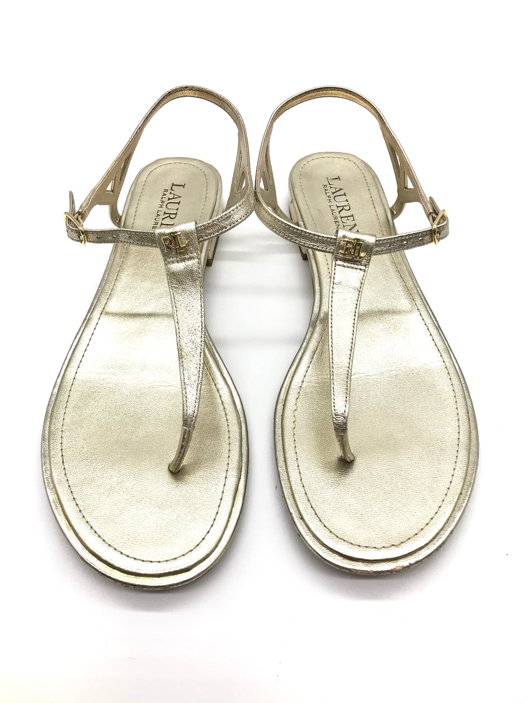 Photo #1 - BRAND: RALPH LAUREN <BR>STYLE: SANDALS FLAT <BR>COLOR: GOLD <BR>SIZE: 7.5 <BR>SKU: 262-26275-70162<BR>GENTLE SCUFFING ON THE TOE AND HEELS - AS IS