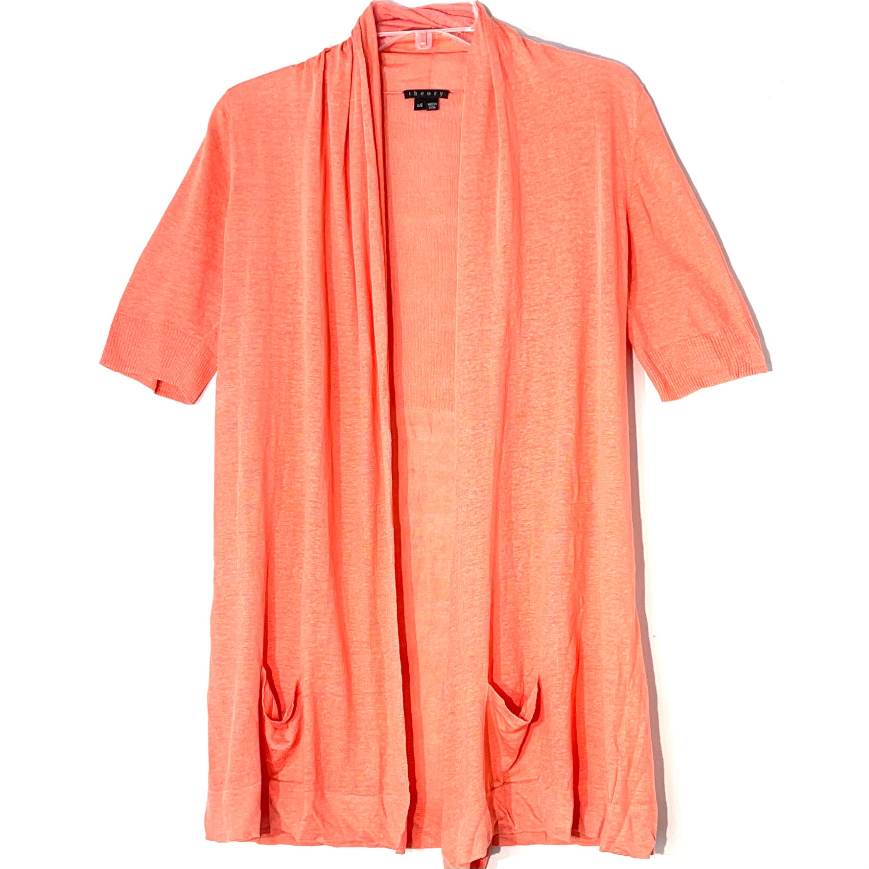 Primary Photo - BRAND: THEORY <BR>STYLE: SWEATER CARDIGAN LIGHTWEIGHT <BR>COLOR: ORANGE <BR>SIZE: L <BR>SKU: 262-26241-46918