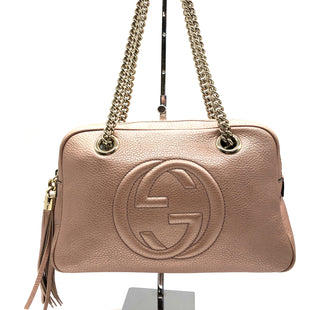 "Primary Photo - BRAND: GUCCI STYLE: HANDBAG DESIGNER COLOR: DUSTY PINK SIZE: MEDIUM SKU: 262-26211-145239APPROX. 11.5""L X 7.5""H X 3.75""D. CHAIN STRAP DROP APPROX. 9""."