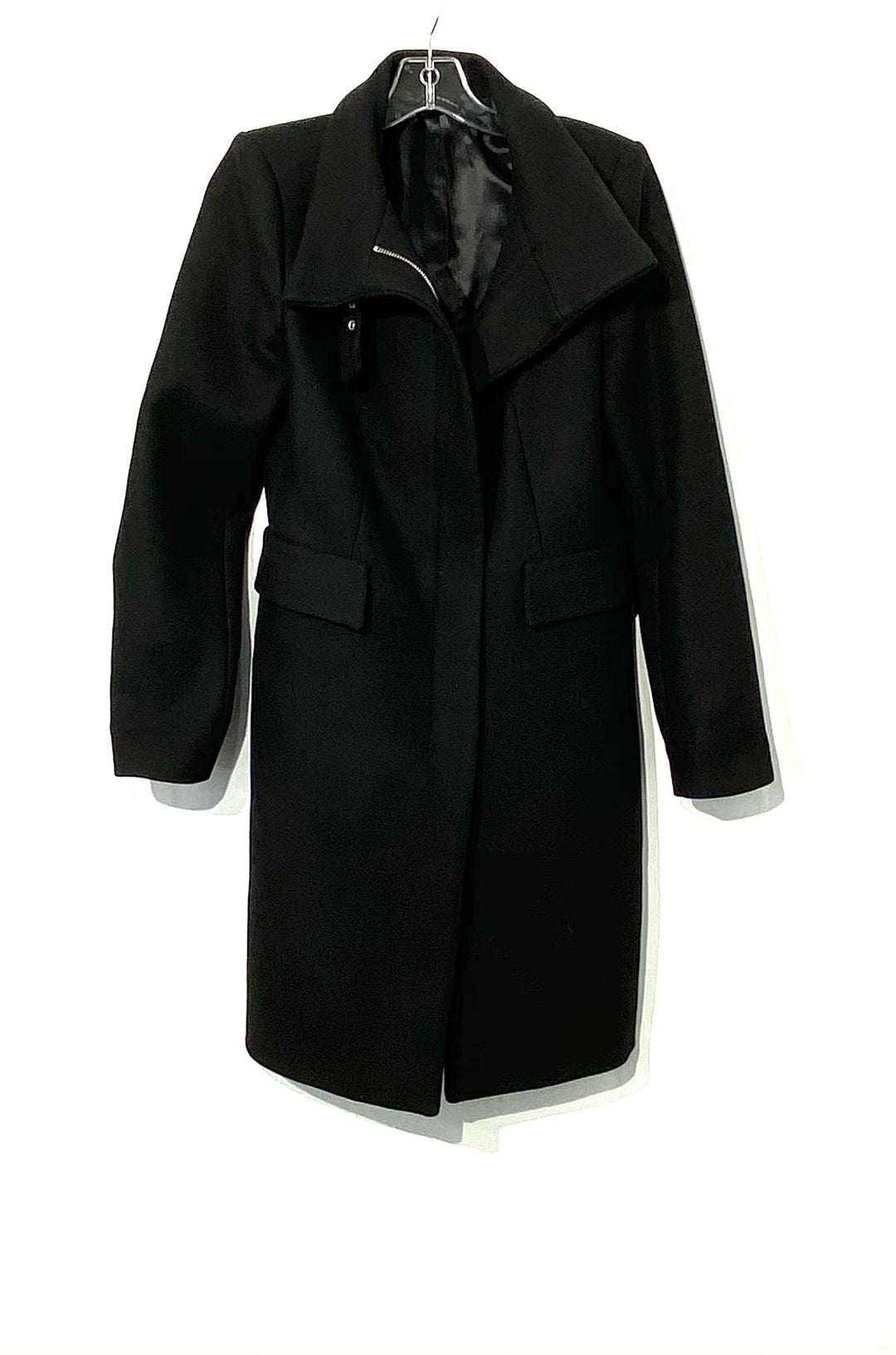 Primary Photo - BRAND: ZARA BASIC <BR>STYLE: COAT<BR>COLOR: BLACK <BR>SIZE: L <BR>SKU: 262-26275-70844<BR>75% WOOL<BR>DESIGNER FINAL