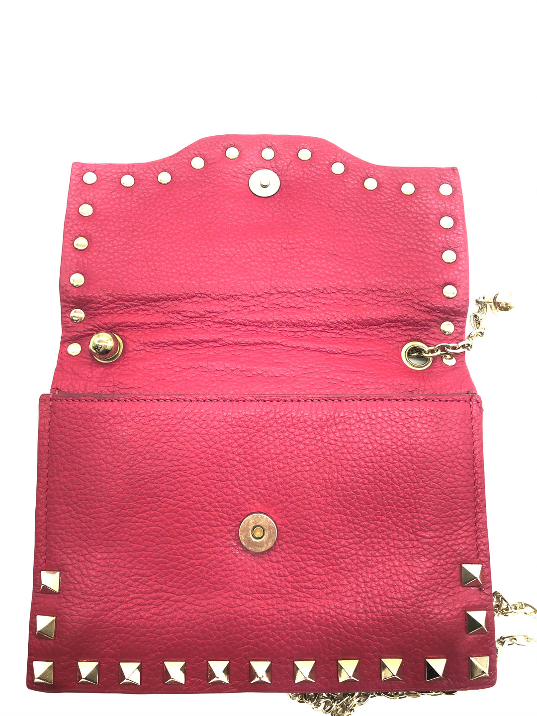 "Photo #3 - BRAND: NEIMAN MARCUS <BR>STYLE: HANDBAG <BR>COLOR: HOT PINK <BR>SIZE: SMALL <BR>SKU: 262-26241-43692<BR><BR>APPROX. 6.75""L X 5""H. SMALL SIZE, SLIGHT WEAR TO INSIDE OF FLAP. MATERIAL 100% LEATHER"