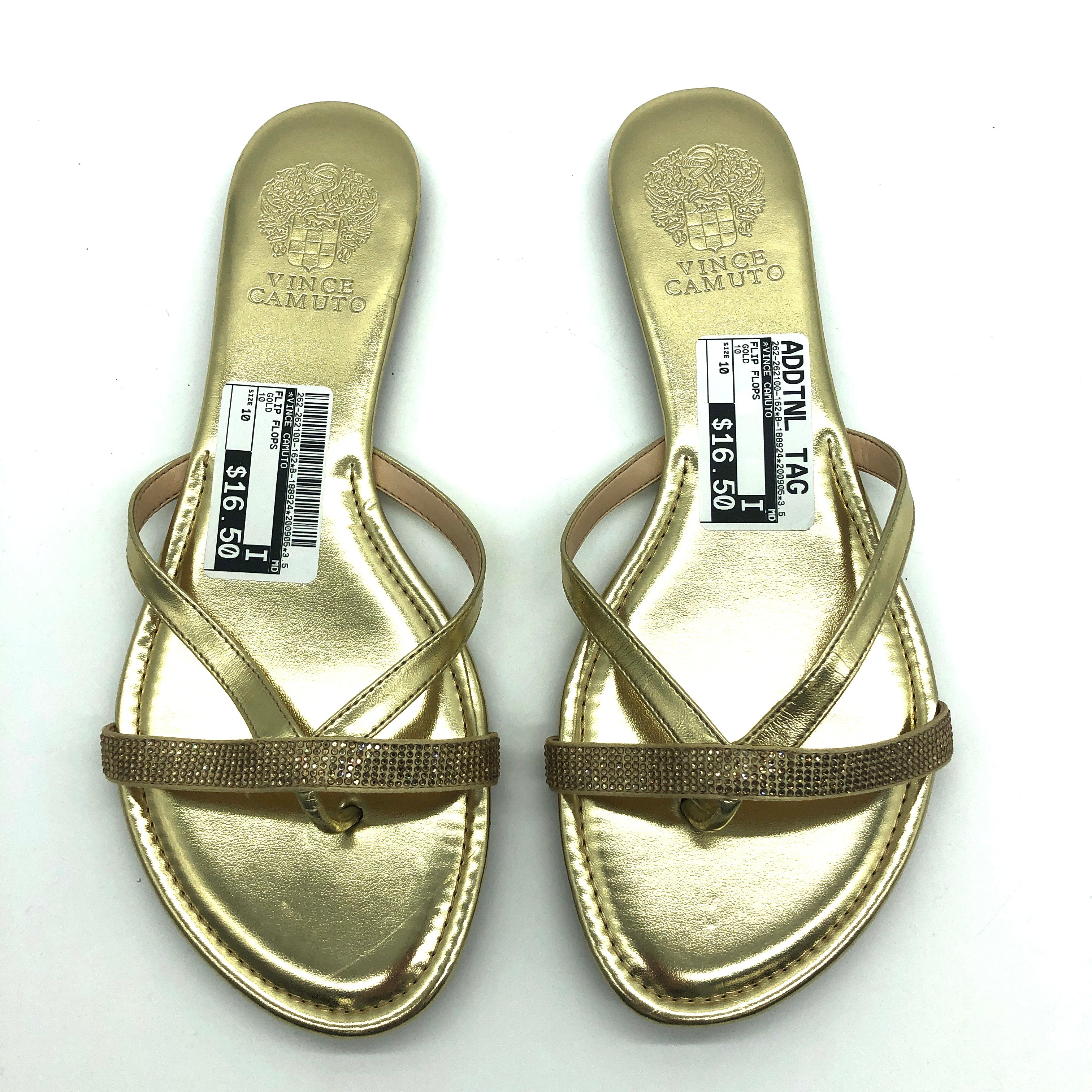 Photo #1 - BRAND: VINCE CAMUTO <BR>STYLE: FLIP FLOPS <BR>COLOR: GOLD <BR>SIZE: 10 <BR>SKU: 262-262100-162<BR>AS IS