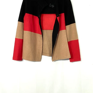 Primary Photo - BRAND: KARL LAGERFELD STYLE: SWEATER CARDIGAN LIGHTWEIGHT COLOR: RED BLACK SIZE: XS SKU: 262-26275-7123155% WOOL DESIGNER FINAL GENTLE PILLING AS IS