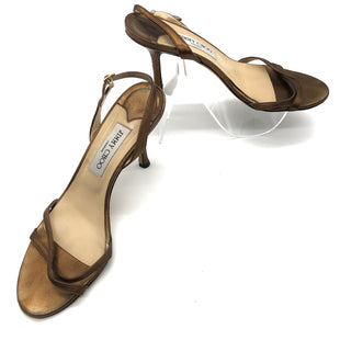 Primary Photo - BRAND: JIMMY CHOO STYLE: SANDALS LOW COLOR: BRONZE SIZE: 39.5 (US: APPROX. 9.5)OTHER INFO: AS IS VISIBLE WEAR SKU: 262-26241-34835AS IS: PRICE DOES REFLECT SOME WEAR, SEE PHOTOS.