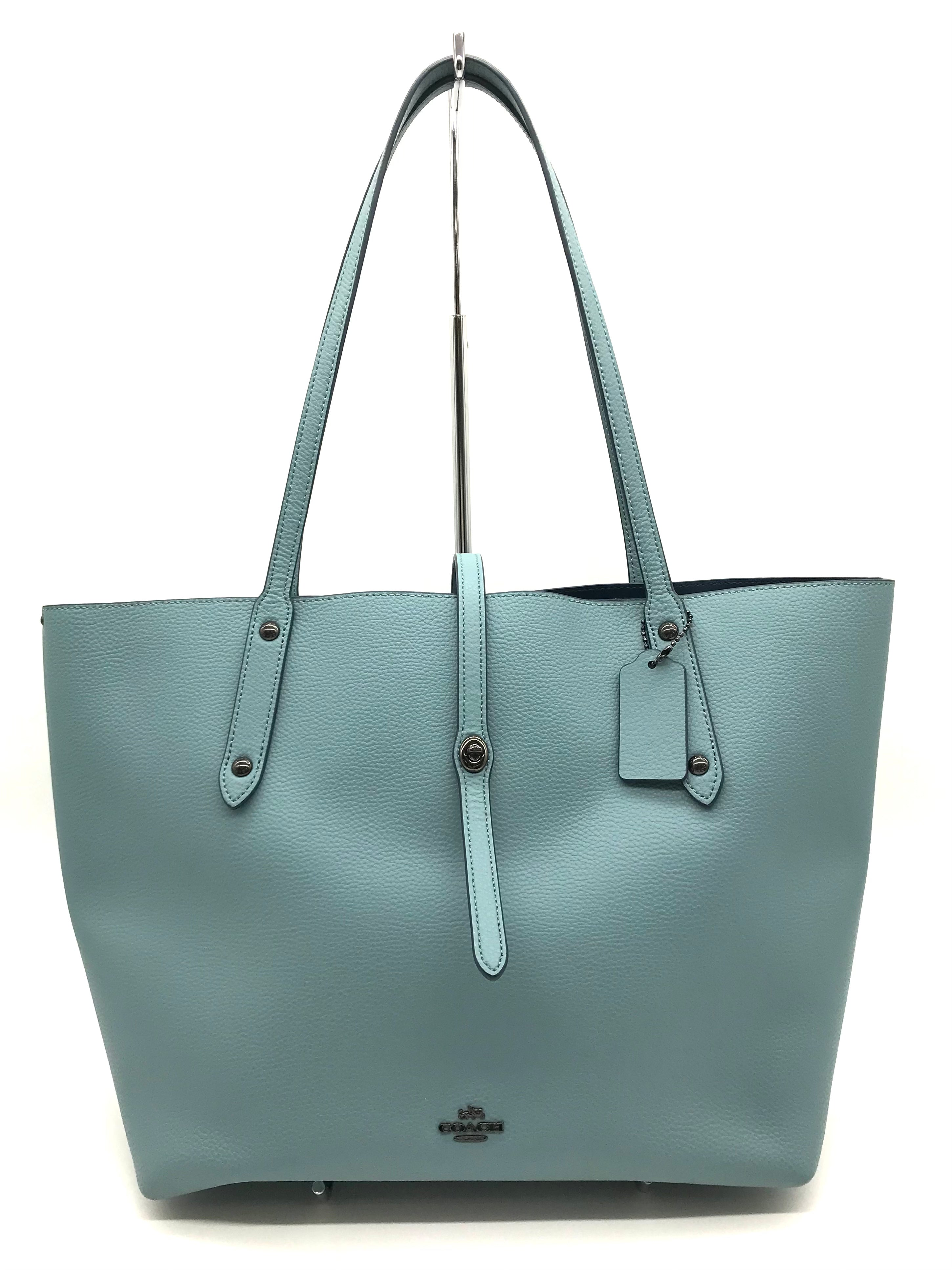 "Primary Photo - BRAND: COACH <BR>STYLE: HANDBAG DESIGNER <BR>COLOR: TEAL <BR>SIZE: LARGE 11""H X 18""L X 6.8""W<BR>HANDLE DROP: 11""<BR>SKU: 262-26241-43323<BR>LIKE NEW CONDITION"