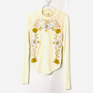 Primary Photo - BRAND: FREE PEOPLE STYLE: TOP LONG SLEEVE COLOR: FLORAL CREAMSIZE: S SKU: 262-26275-74164