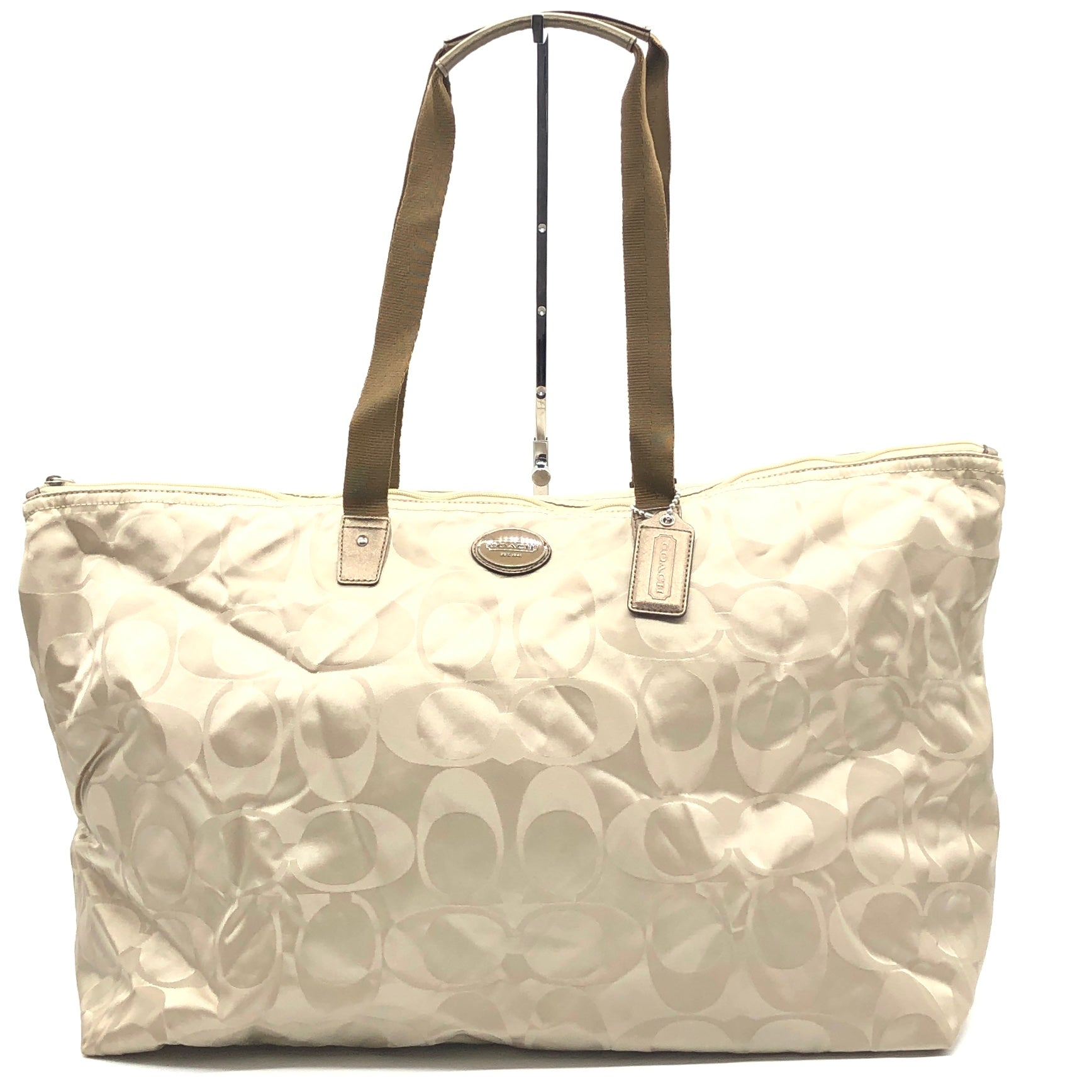 "Primary Photo - BRAND: COACH <BR>STYLE: HANDBAG <BR>COLOR: BEIGE <BR>SIZE: LARGE 14""H X 23""L X 9""H<BR>SKU: 262-26275-74432<BR>GENTLE WEAR - AS IS"