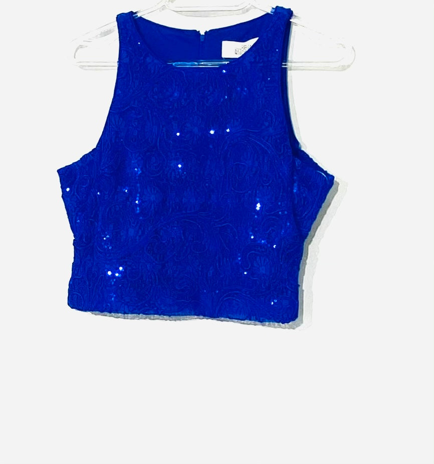 Primary Photo - <P>BRAND: BADGLEY MISCHKA <BR>STYLE: TOP SLEEVELESS <BR>COLOR: ROYAL BLUE SPARKLES <BR>SIZE: XS/2<BR>SKU: 262-26275-51751<BR>CROP TOP <BR>DESIGNER FINAL</P>