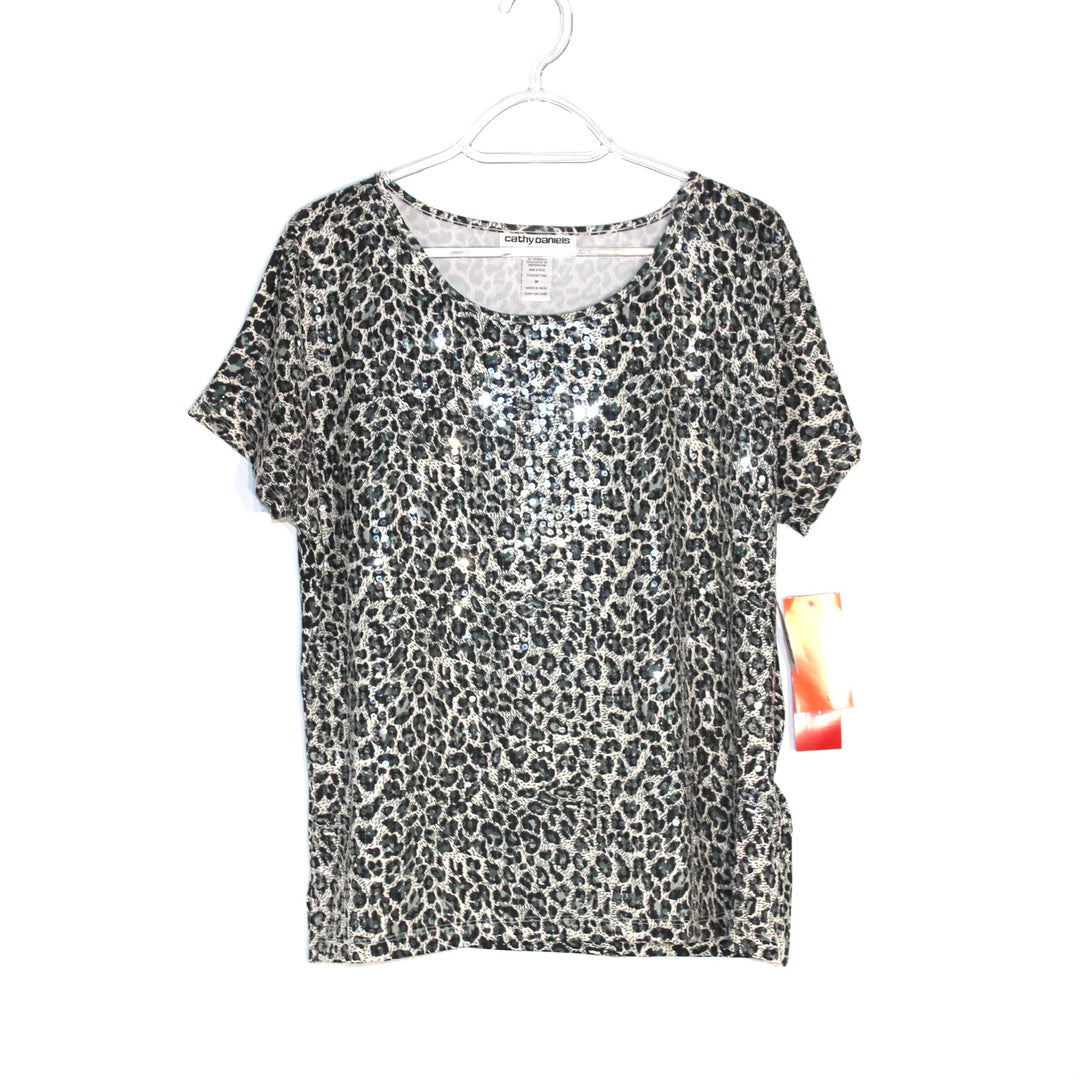 Primary Photo - BRAND: CATHY DANIELS <BR>STYLE: TOP SHORT SLEEVE <BR>COLOR: ANIMAL PRINT <BR>SIZE: M <BR>SKU: 262-26275-60571