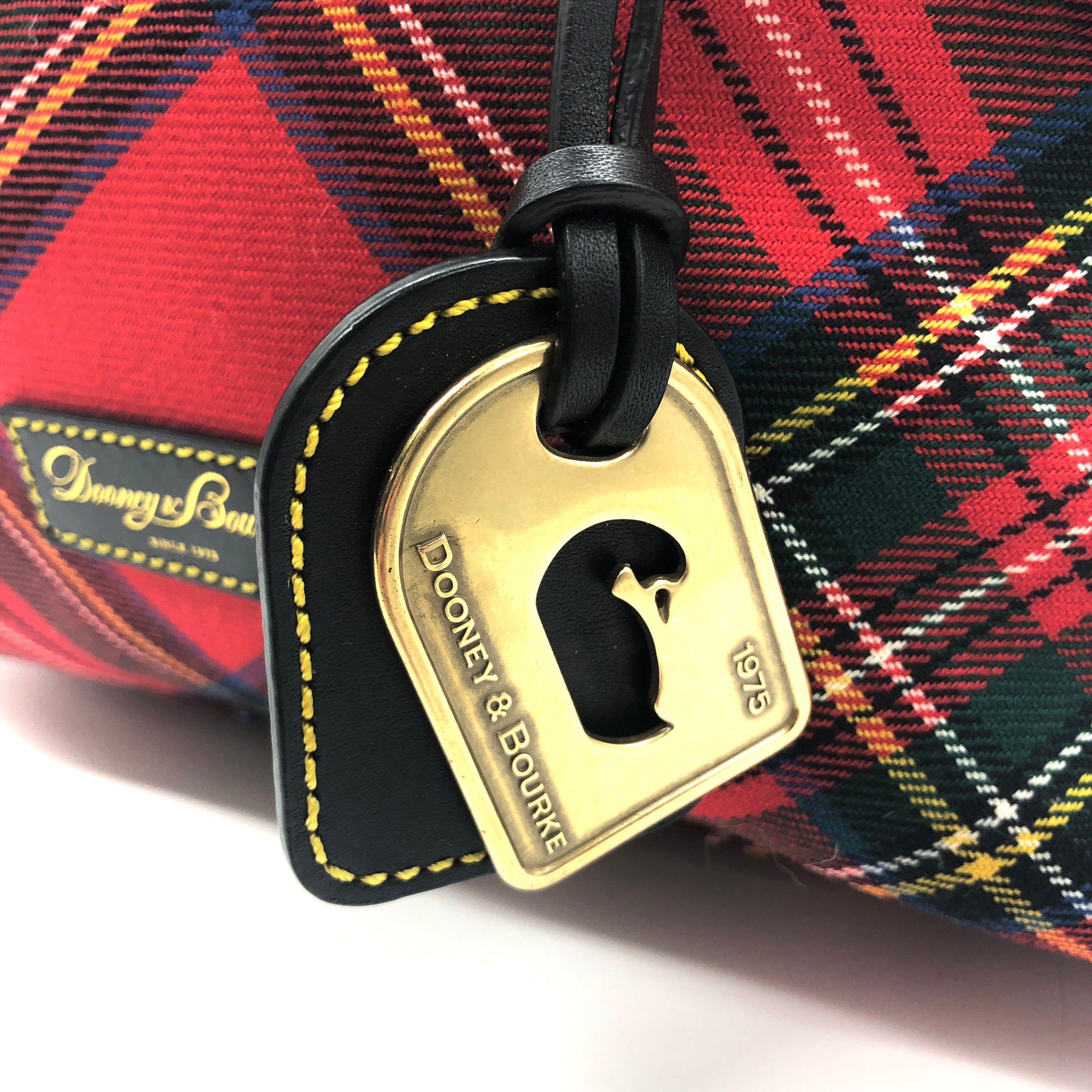 "Photo #2 - BRAND: DOONEY AND BOURKE <BR>STYLE: HANDBAG DESIGNER <BR>COLOR: PLAID <BR>SIZE: MEDIUM <BR>SKU: 262-26241-44660<BR><BR>APPROX. 10.75""L X 10""H X 5.5""D. AS IS, SLIGHT WEAR TO METALWARE + MISSING ONE OF THE FOUR FEET"