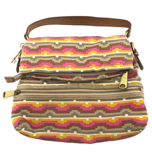 "Primary Photo - BRAND: FOSSIL STYLE: HANDBAG DESIGNER COLOR: MULTI SIZE: MEDIUM SKU: 262-26275-75675APPROX. 14""L X 14""H X 2""D, DROP APPROX. 7"". SOME SLIGHT WEAR TO METALWARE ."