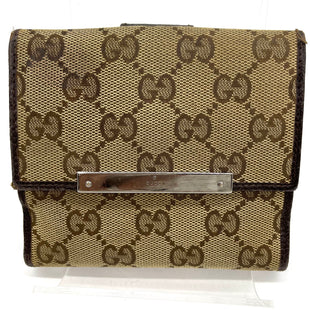 "Primary Photo - BRAND: GUCCI STYLE: WALLET COLOR: TAN MONOGRAM SIZE: SMALL SKU: 262-26211-144841WEAR SHOWS SEE PICS AS IS4.75""X4.75""(OPEN) 8.25"""