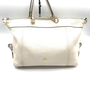 "Primary Photo - BRAND: COACH STYLE: HANDBAG COLOR: CREAM SIZE: MEDIUM OTHER INFO: MISSING STRAP AS IS!! SKU: 262-26211-138798AS IS, SOME SPOTS AND MISSING STRAP. APPROX. 12""L X 10""H X 4""D"