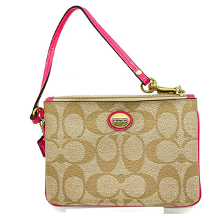 "Primary Photo - BRAND: COACH STYLE: COIN PURSE COLOR: PINKBROWN MONOGRAM SIZE: SMALLSKU: 262-26241-46841DESIGNER FINAL 6""LX4""HX.5""D"