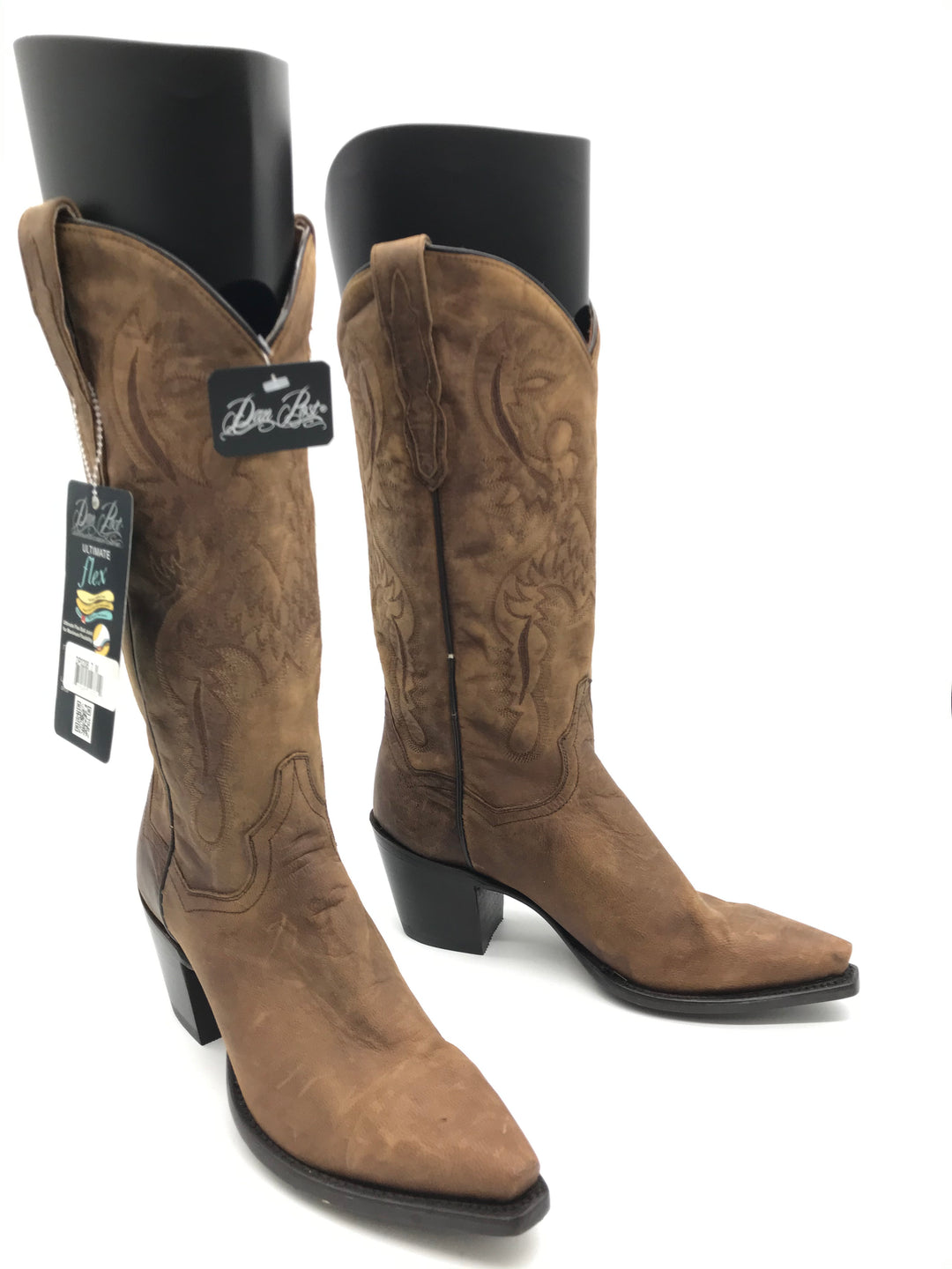 Primary Photo - BRAND: DAN POST <BR>STYLE: BOOTS KNEE <BR>COLOR: BROWN <BR>SIZE: 7 <BR>SKU: 262-26275-70166<BR>SOME GENTLE CRACK ON SIDE PIPINGS • AS IS