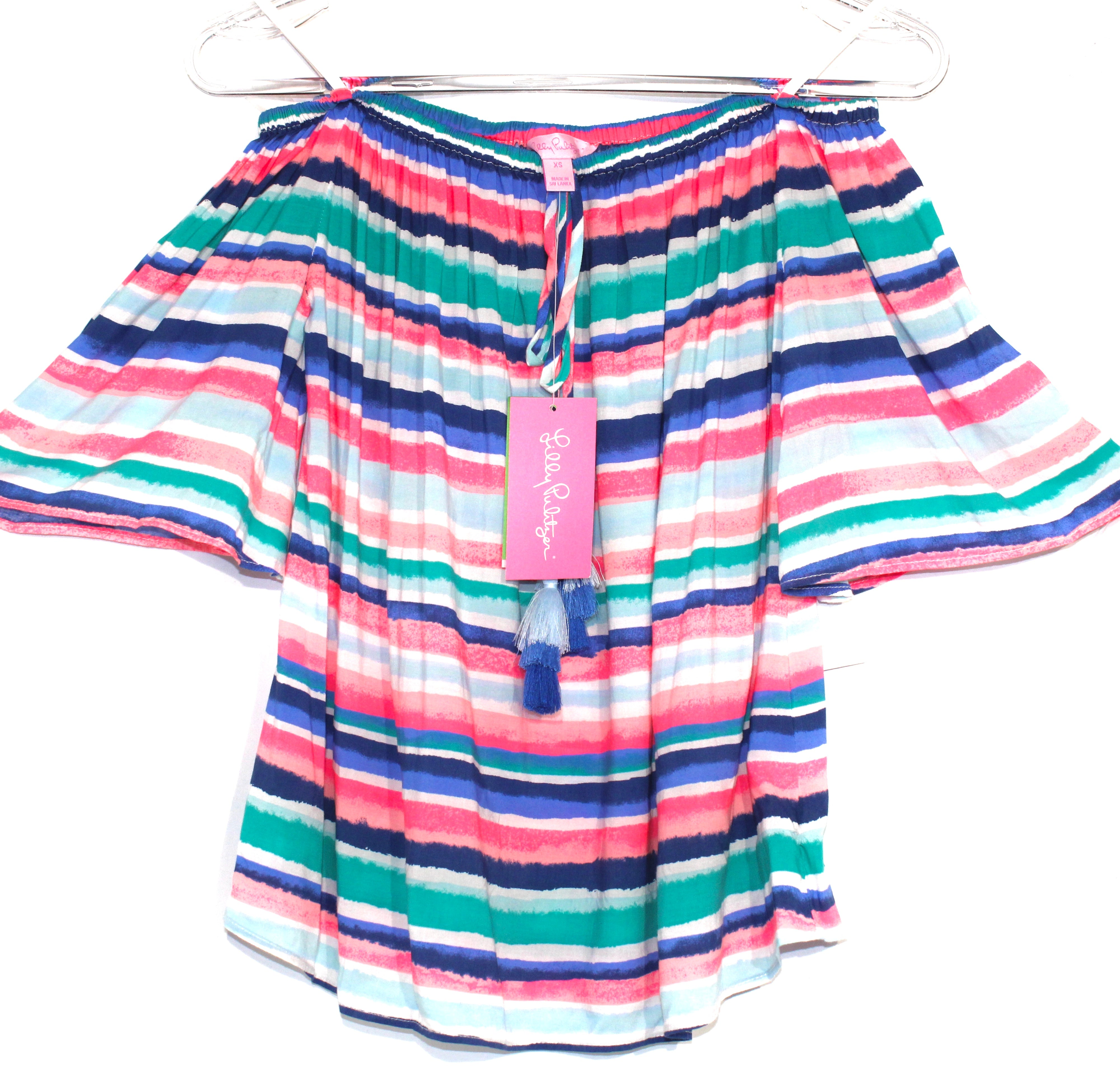 Primary Photo - BRAND: LILLY PULITZER <BR>STYLE: TOP SHORT SLEEVE <BR>COLOR: STRIPED <BR>SIZE: XS <BR>SKU: 262-26275-64048<BR><BR>DESIGNER FINAL <BR>OFF SHOULDER STYLE