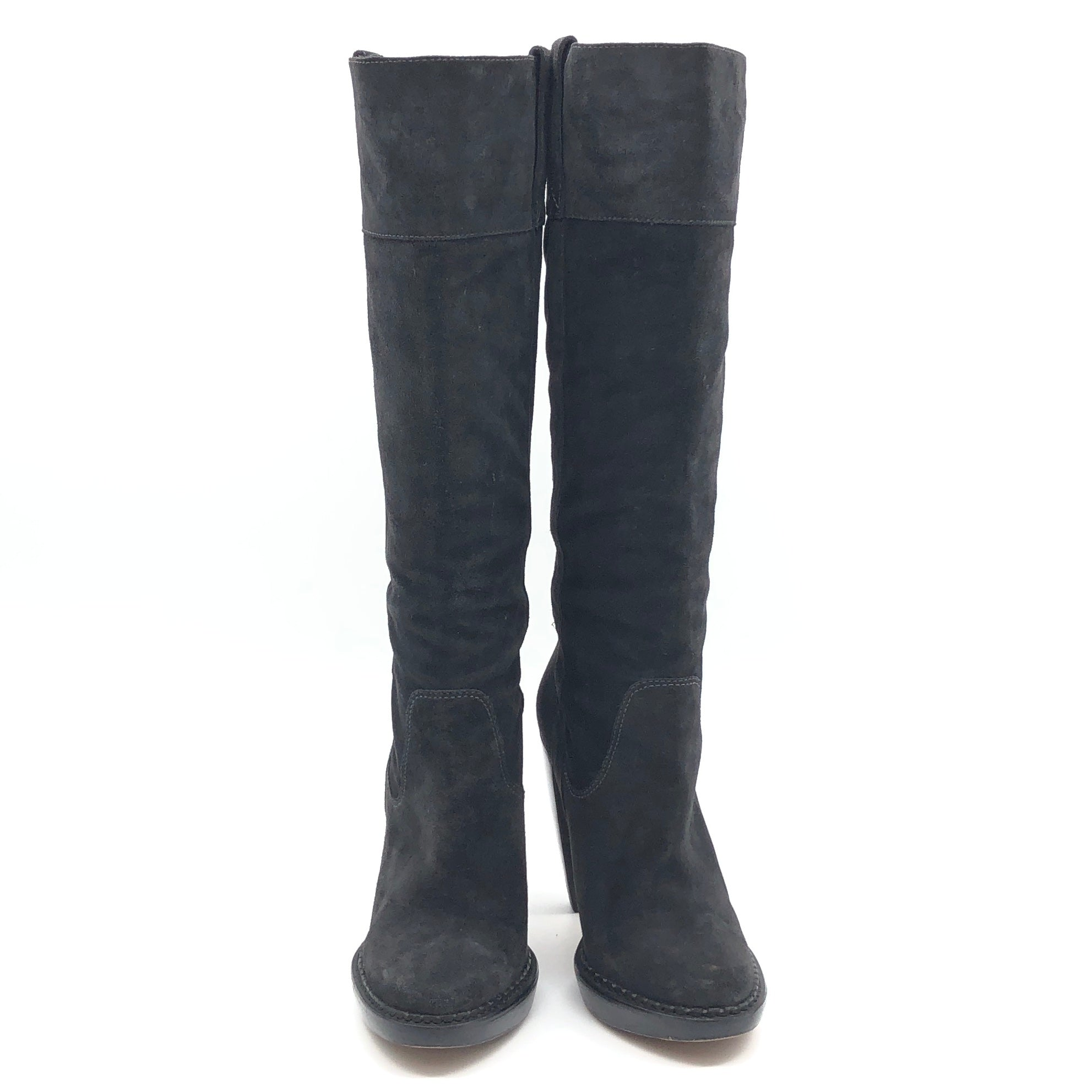 "Photo #1 - BRAND: MICHAEL KORS <BR>STYLE: BOOTS KNEE <BR>COLOR: BLACK <BR>SIZE: 10 <BR>SKU: 262-262101-2081<BR>CALF OPENING CIRCUMFERENCE: 16.5"" <BR>LOWER CIRCUMFERENCE: 12.5""<BR>NARROW TOES • GENTLE WEAR • 5"" HEEL HEIGHT • 15"" BOOTS HEIGHT •"