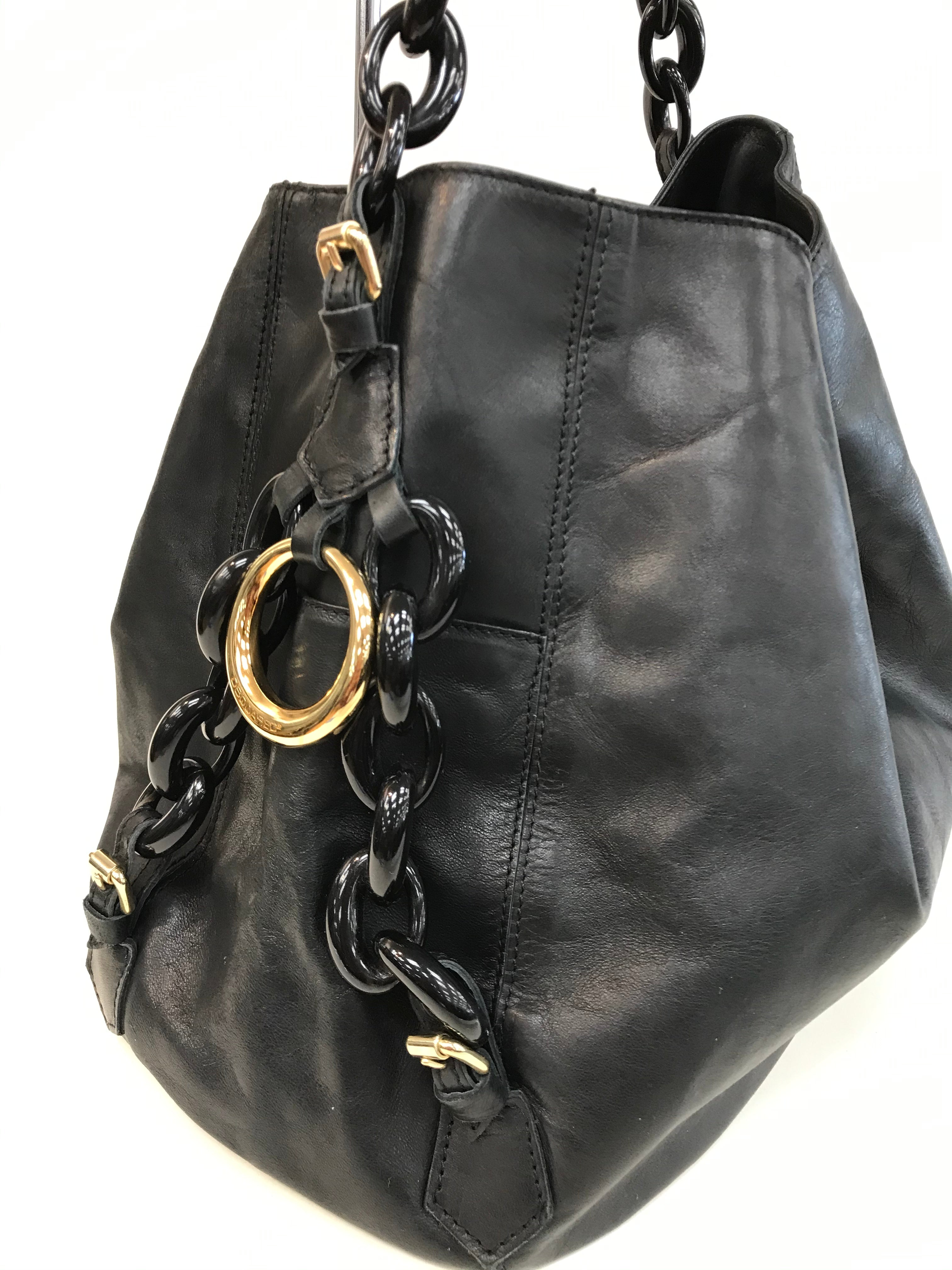 Photo #1 - BRAND:  DSQUARED2<BR>STYLE: HANDBAG <BR>COLOR: BLACK <BR>SIZE: SMALL <BR>SKU: 262-26275-61692<BR>SHOWS WEAR ON CORNERS<BR>AS IS