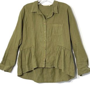 Primary Photo - BRAND: HOLDING HORSES STYLE: TOP LONG SLEEVE COLOR: OLIVE SIZE: S SKU: 262-26275-76283100% LINEN
