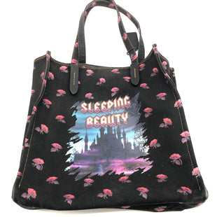 "Primary Photo - BRAND: COACHSTYLE: TOTE SLEEPING BEAUTY SPECIAL EDITIONCOLOR: BLACK SIZE: LARGESKU: 262-26211-144225APPROX. 15""L X 13.5""H X 4.4""D. PRICE DOES REFLECT SOME VISIBLE WEAR ESPECIALLY NEAR EDGES"