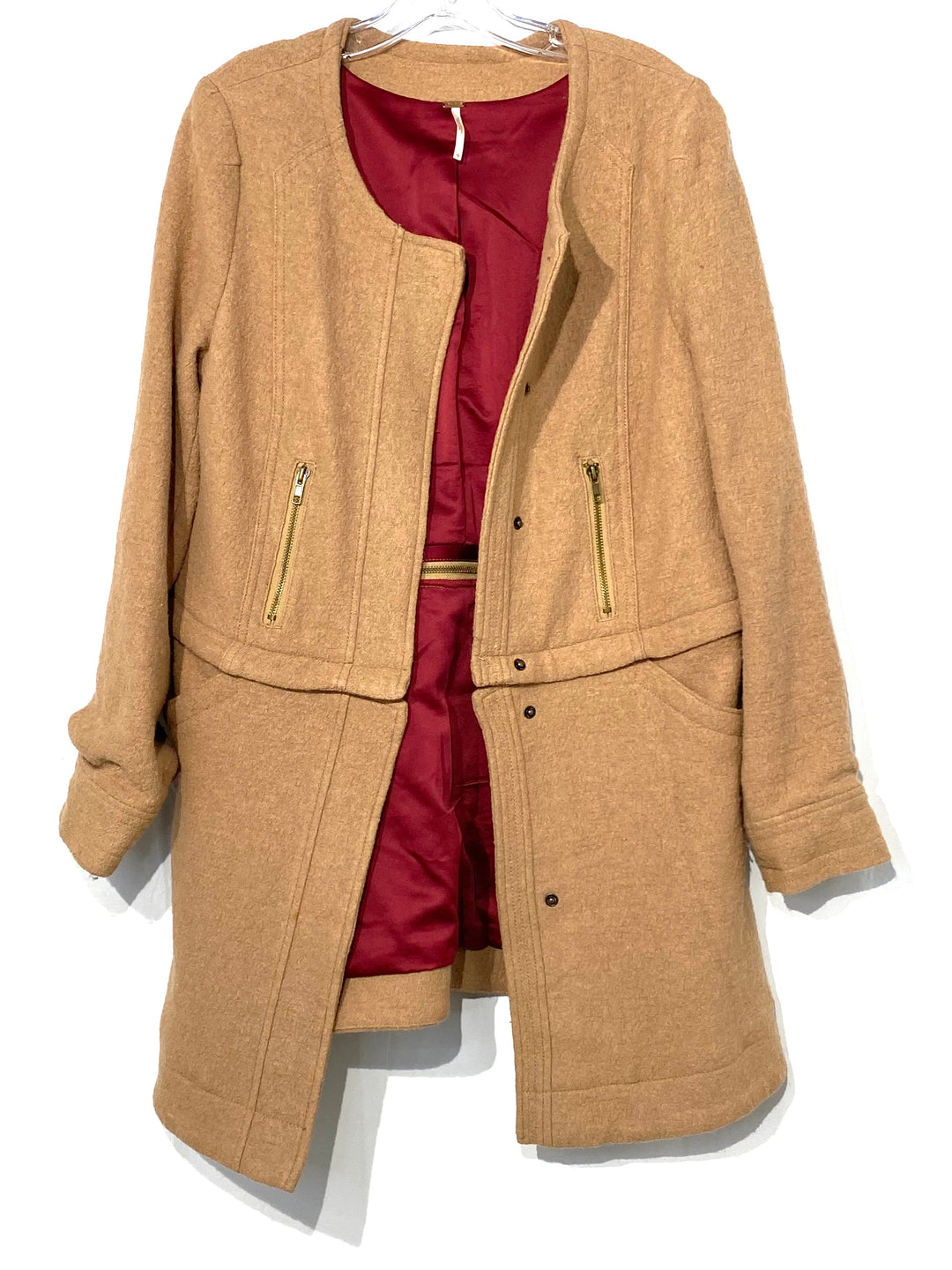 Primary Photo - BRAND: FREE PEOPLE <BR>STYLE: JACKET OUTDOOR <BR>COLOR: BEIGE <BR>SIZE: M <BR>SKU: 262-262100-271<BR>COAT THAT UNZIPS TO BE A SHORT JACKET