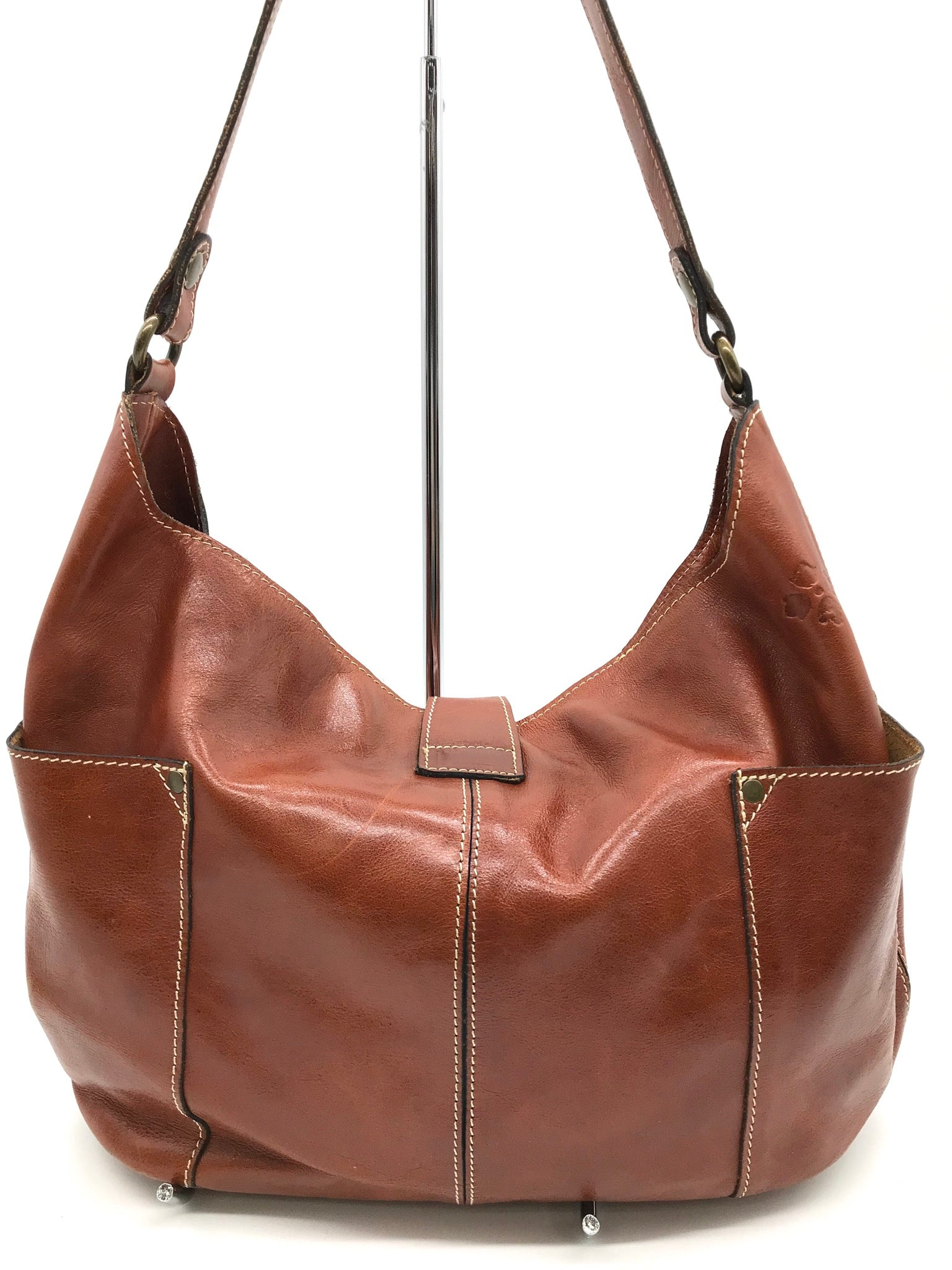 Photo #1 - BRAND: PATRICIA NASH <BR>STYLE: HANDBAG <BR>COLOR: BROWN <BR>SIZE: MEDIUM <BR>SKU: 262-26275-64345<BR>GENTLE WEAR SHOWS AS BOTTOM CORNERS - AS IS