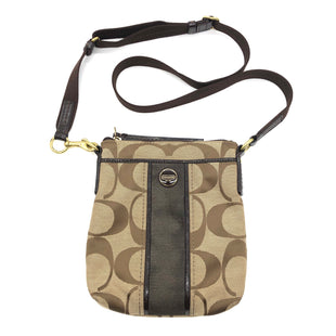 "Primary Photo - BRAND: COACH STYLE: HANDBAG DESIGNER COLOR: MONOGRAM SIZE: SMALL SKU: 262-26275-74298AS IS SLIGHT SPOTS ON BACK SIDEDESIGNER BRAND FINAL SALE APPROX 9""X8""X1"""