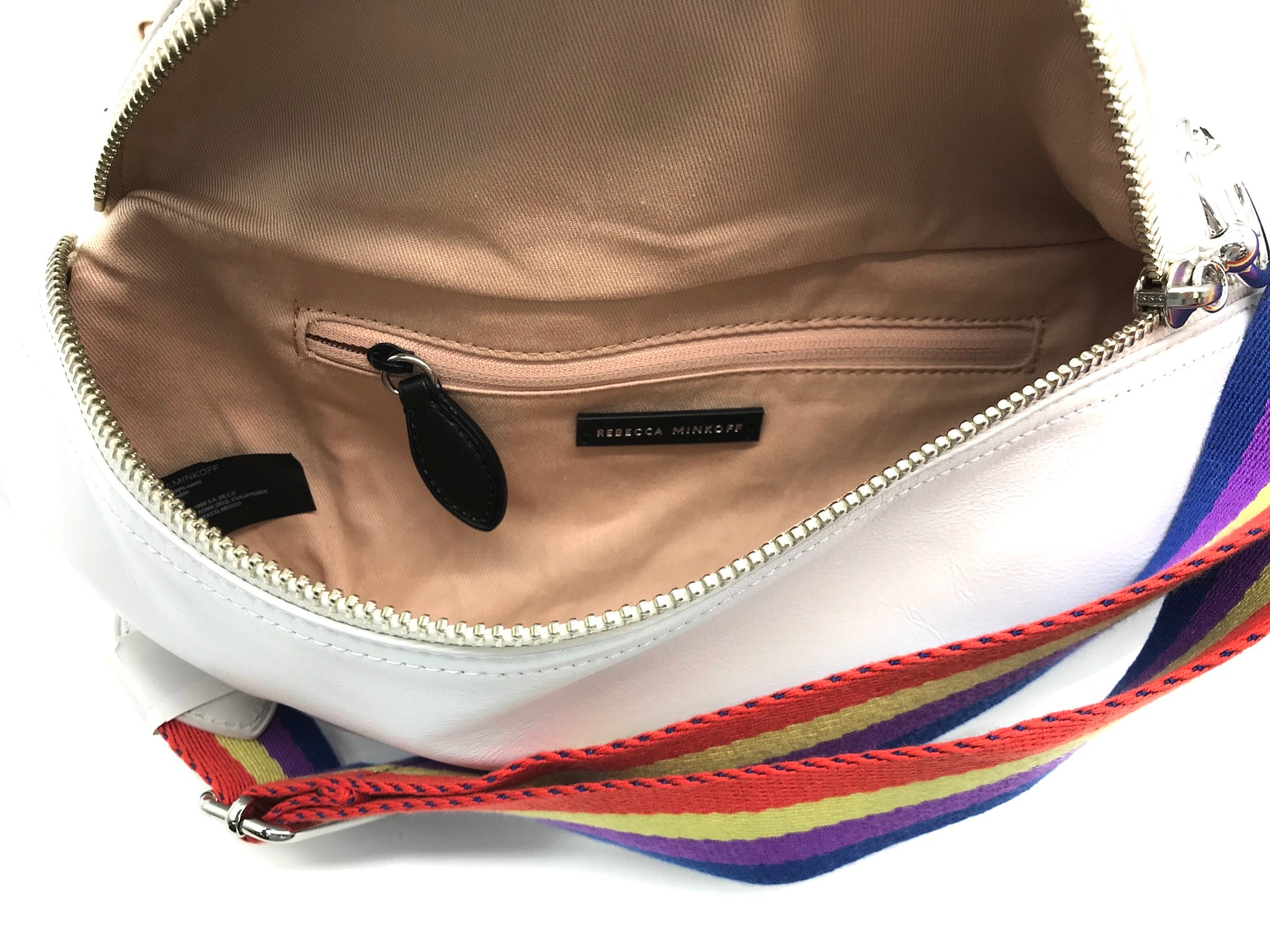 "Photo #3 - BRAND: REBECCA MINKOFF <BR>STYLE: HANDBAG DESIGNER <BR>COLOR: WHITE <BR>SIZE: SMALL <BR>SKU: 262-26241-42186<BR><BR>APPROX. 11"" X 5.75"". BREE BELT BAG, EXCELLENT CONDITION WITH TAG BUT WITH ONLY COUPLE SLIGHT SPOTS."