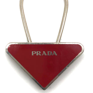 "Primary Photo - BRAND: PRADA STYLE: ACCESSORY TAG COLOR: RED SKU: 262-26275-74217TRIANGLE APPROX. 1.9""L X 1.1""H. GENTLE SCRATCHES"