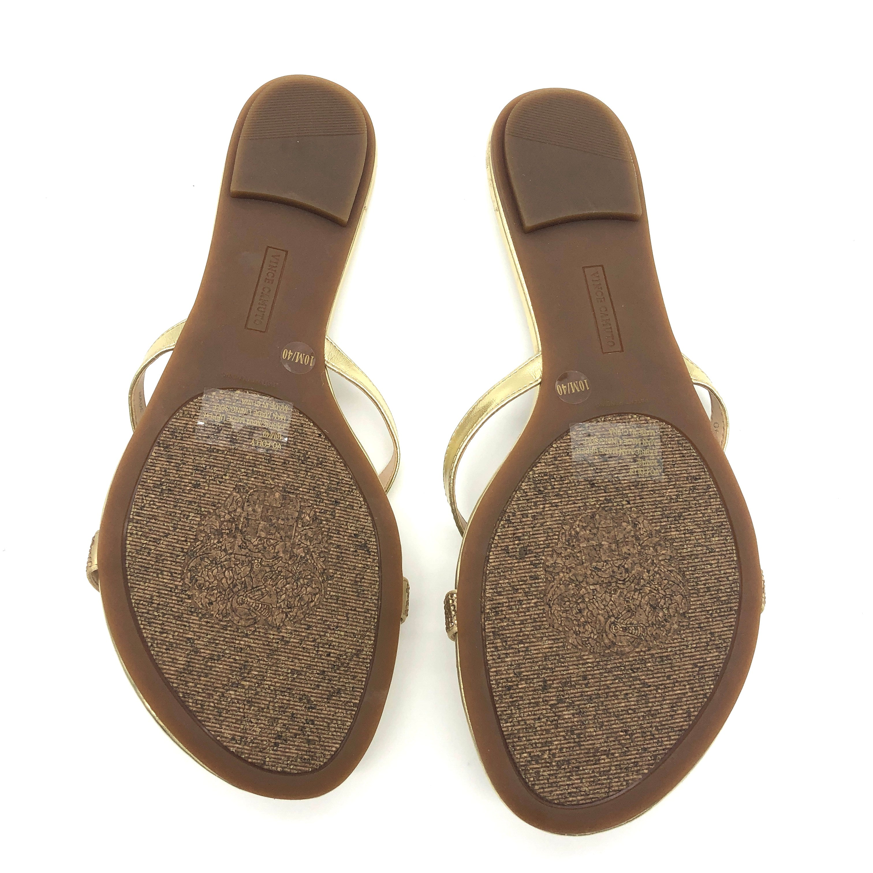 Photo #2 - BRAND: VINCE CAMUTO <BR>STYLE: FLIP FLOPS <BR>COLOR: GOLD <BR>SIZE: 10 <BR>SKU: 262-262100-162<BR>AS IS