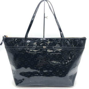 "Primary Photo - BRAND: KATE SPADE STYLE: HANDBAG DESIGNER COLOR: BLACK SIZE: LARGE 10.5""H X 18""L X 6.5""WDROP: 9""SKU: 262-26275-60473SLIGHT MARKS • GENTLE WEAR ON CORNERS AND STRAP •"