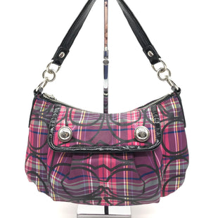 "Primary Photo - BRAND: COACH STYLE: HANDBAG DESIGNER COLOR: PLAID SIZE: SMALL 7""H X 11.5""L X 4""WSTRAP DROP: 7.5""SKU: 262-26241-43502GENTLE PEELING OF PATENT LEATHER LININGS • AS IS"