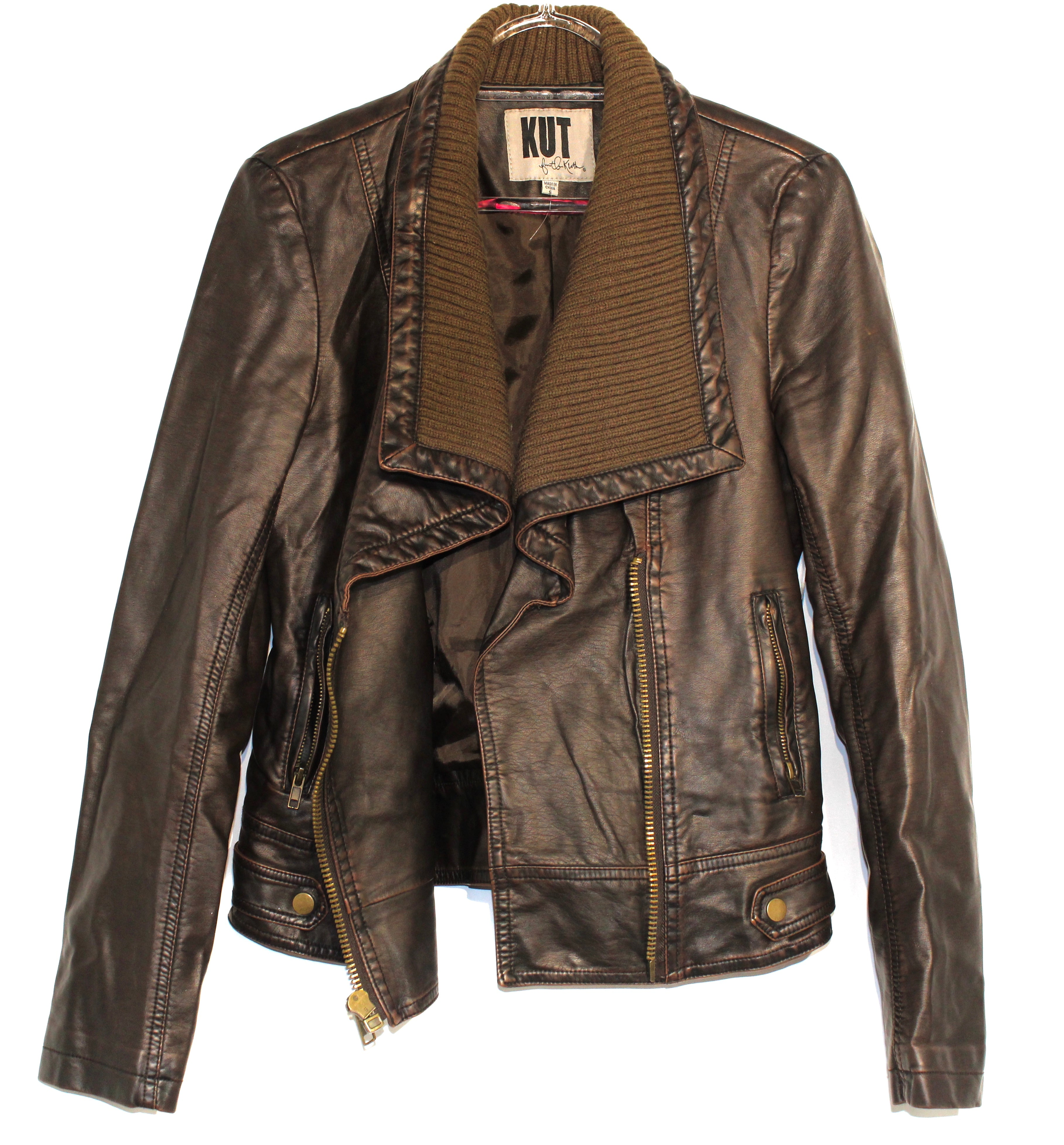 Primary Photo - BRAND: KUT <BR>STYLE: JACKET OUTDOOR <BR>COLOR: BROWN <BR>SIZE: S <BR>SKU: 262-26275-63049<BR>LEATHER LOOK