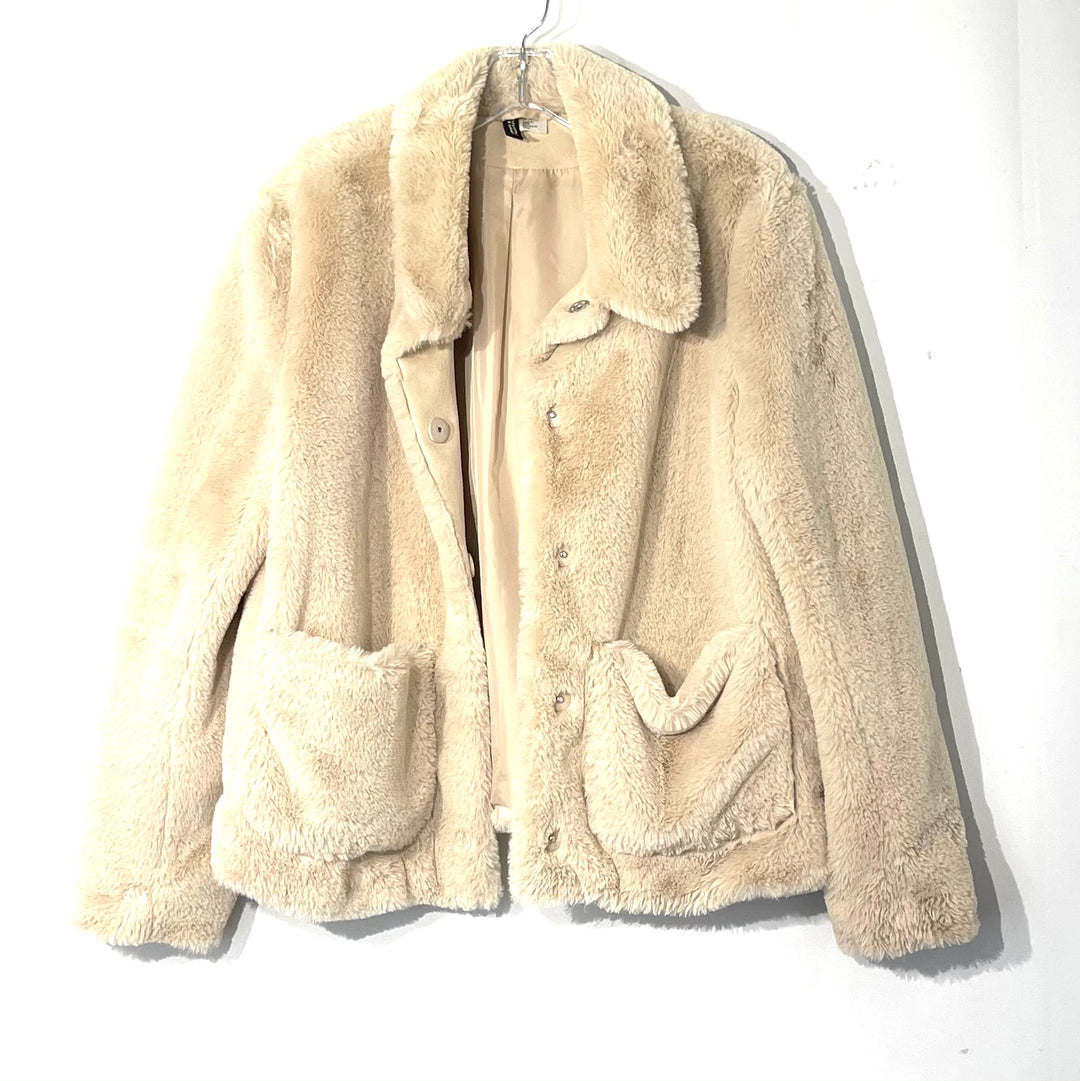 Primary Photo - BRAND: DIVERSION H & M<BR>STYLE: JACKET OUTDOOR <BR>COLOR: BEIGE <BR>SIZE: M <BR>SKU: 262-26275-74389<BR>FAUX FUR