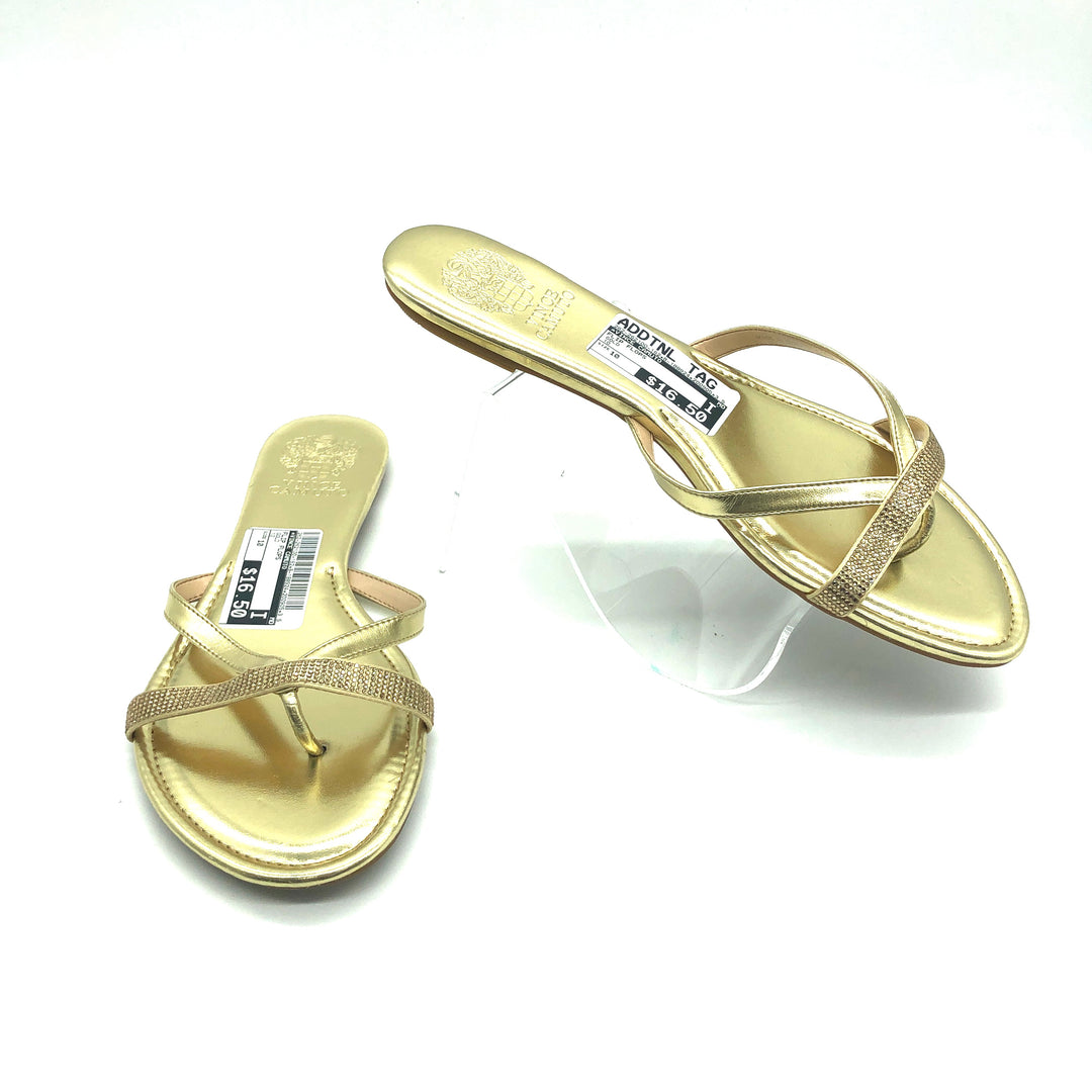 Primary Photo - BRAND: VINCE CAMUTO <BR>STYLE: FLIP FLOPS <BR>COLOR: GOLD <BR>SIZE: 10 <BR>SKU: 262-262100-162<BR>AS IS