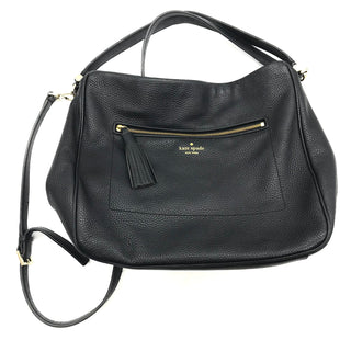 "Primary Photo - BRAND: KATE SPADE STYLE: HANDBAG DESIGNER COLOR: BLACK SIZE: MEDIUM OTHER INFO: AS IS WEAR SKU: 262-26275-73323PRICE DOES REFLECT SOME GENTLE WEAR/SPOTS. APPROX. 12.5""L X 11.5""H X 4.5""D."