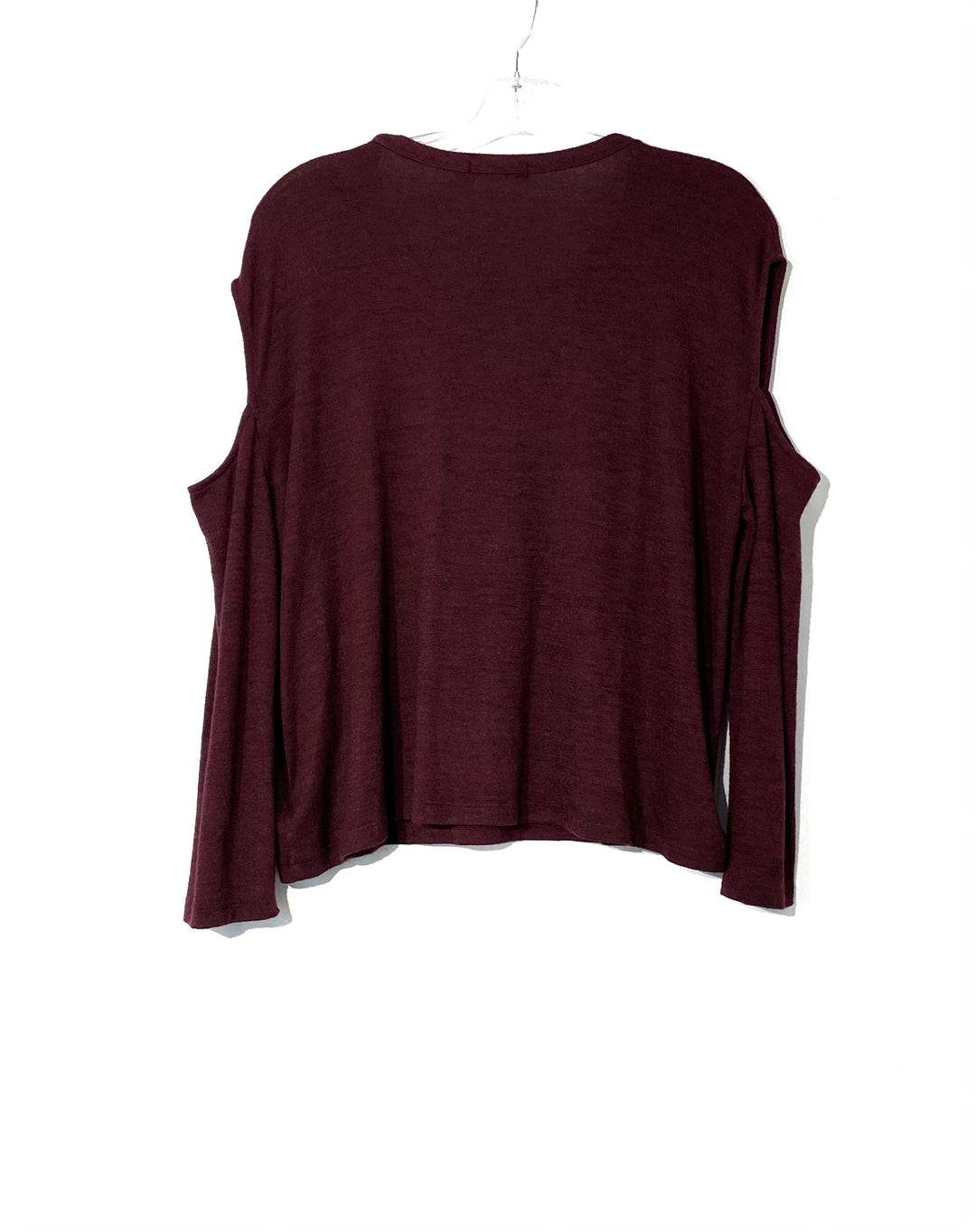 Photo #1 - BRAND: RAG & BONES JEANS <BR>STYLE: TOP LONG SLEEVE <BR>COLOR: BURGUNDY <BR>SIZE: S <BR>SKU: 262-26241-43915<BR>4% SPANDEX <BR>COLD SHOULDER STYLE