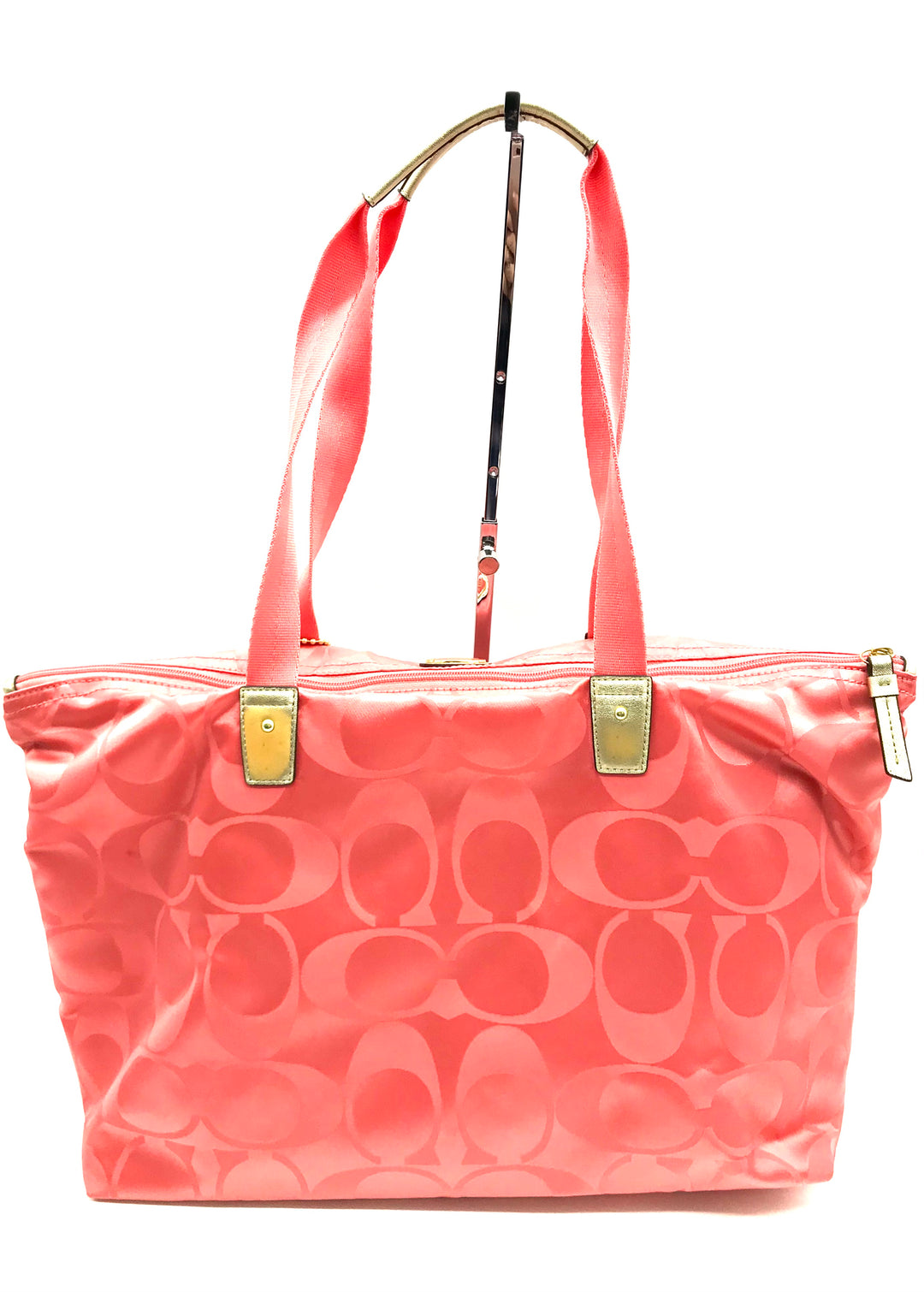"Photo #2 - BRAND: COACH <BR>STYLE: HANDBAG DESIGNER <BR>COLOR: PEACH <BR>SIZE: LARGE <BR>SKU: 262-26211-131031<BR><BR>APPROX. 17.75""L X 11""H X 7""D. INCLUDES DETACHABLE INTERIOR POUCH APPROX. 10""L X 7.25""H. GENTLE WEAR ON BACK"