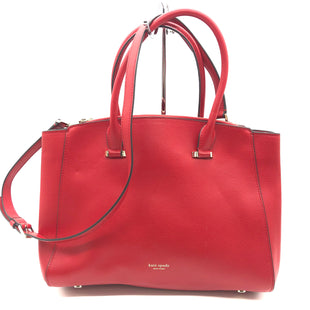 "Primary Photo - BRAND: KATE SPADE STYLE: HANDBAG DESIGNER COLOR: RED SIZE: MEDIUM SKU: 262-26275-76545APPROX. 13""L X 10""H X 5""D. COUPLE SLIGHT SPOTS"