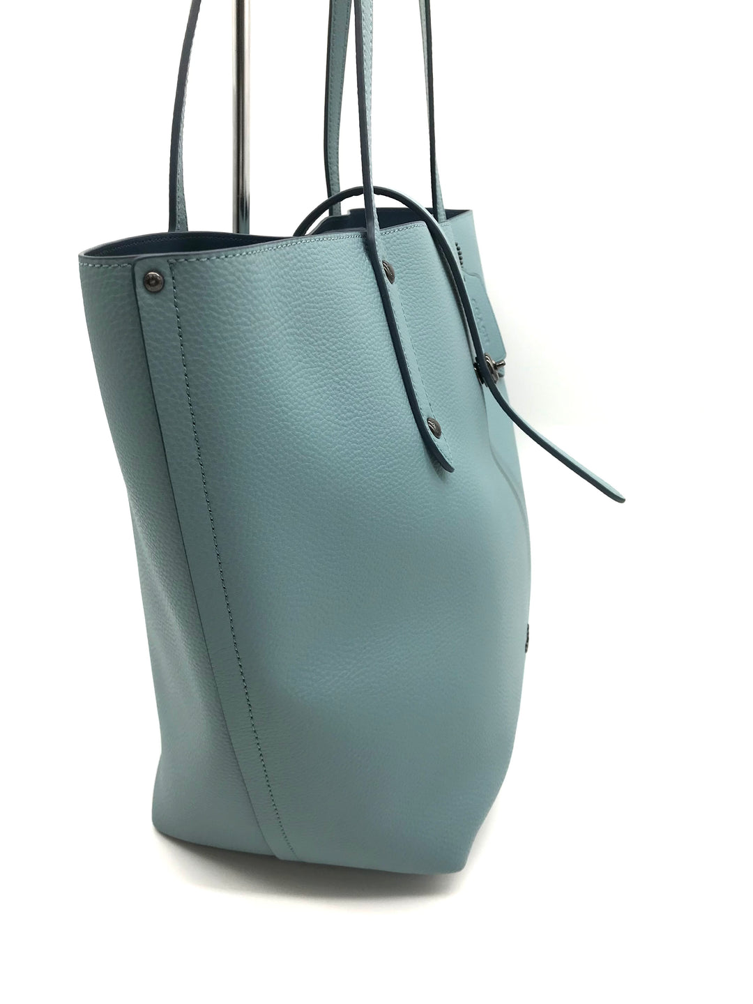 "Photo #2 - BRAND: COACH <BR>STYLE: HANDBAG DESIGNER <BR>COLOR: TEAL <BR>SIZE: LARGE 11""H X 18""L X 6.8""W<BR>HANDLE DROP: 11""<BR>SKU: 262-26241-43323<BR>LIKE NEW CONDITION"