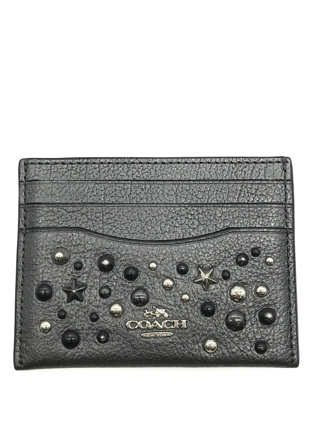 "Primary Photo - BRAND: COACH <BR>STYLE: WALLET ACCESSORY<BR>COLOR: METALLIC <BR>SIZE: MEDIUM <BR>SKU: 262-26241-43691<BR><BR>APPROX. 4""L X 3""H"