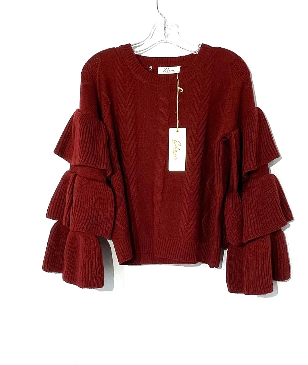 Primary Photo - BRAND: ELAN <BR>STYLE: SWEATER LIGHTWEIGHT <BR>COLOR: MAROON <BR>SIZE: S <BR>SKU: 262-26275-73501