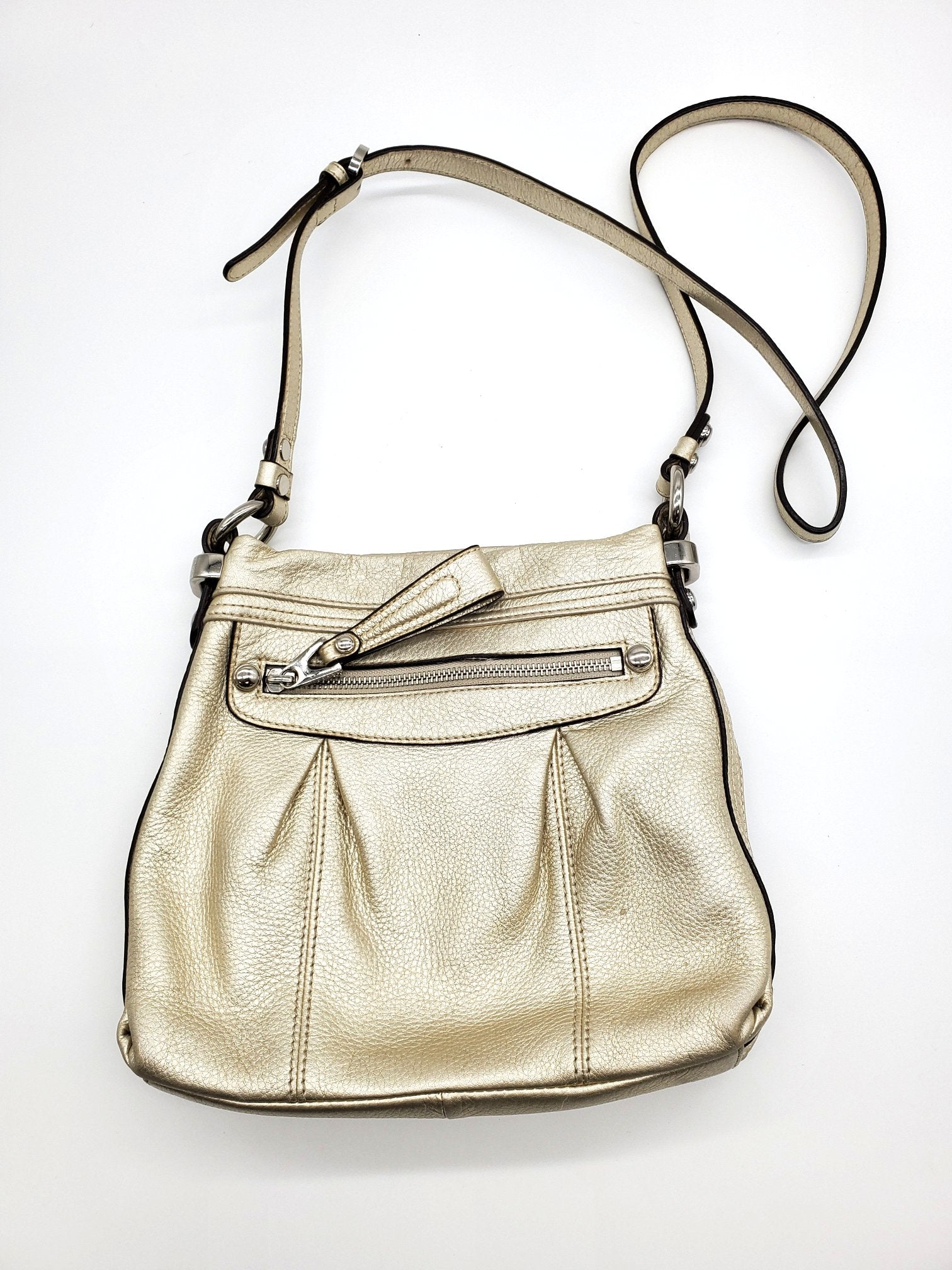 Photo #1 - BRAND: B MAKOWSKY <BR>STYLE: HANDBAG <BR>COLOR: GOLD <BR>SIZE: SMALL <BR>SKU: 262-26298-569<BR>AS IS <BR>
