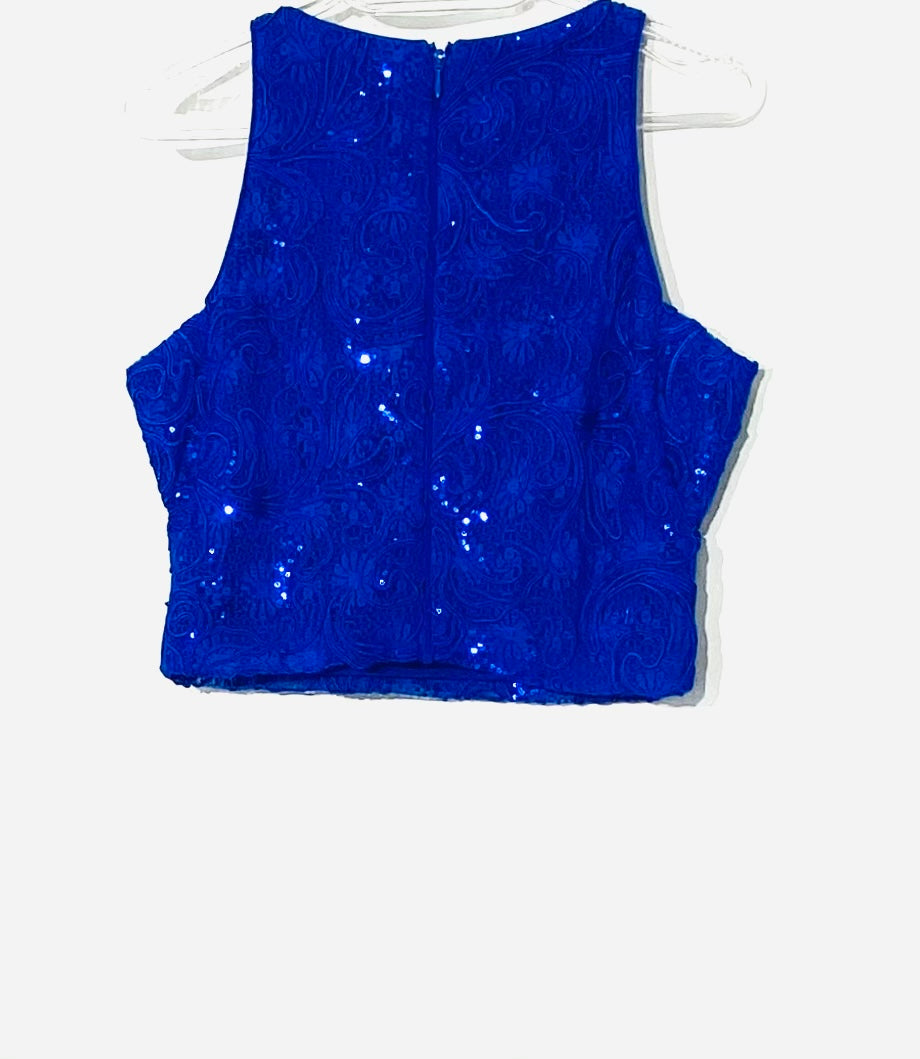 Photo #1 - <P>BRAND: BADGLEY MISCHKA <BR>STYLE: TOP SLEEVELESS <BR>COLOR: ROYAL BLUE SPARKLES <BR>SIZE: XS/2<BR>SKU: 262-26275-51751<BR>CROP TOP <BR>DESIGNER FINAL</P>