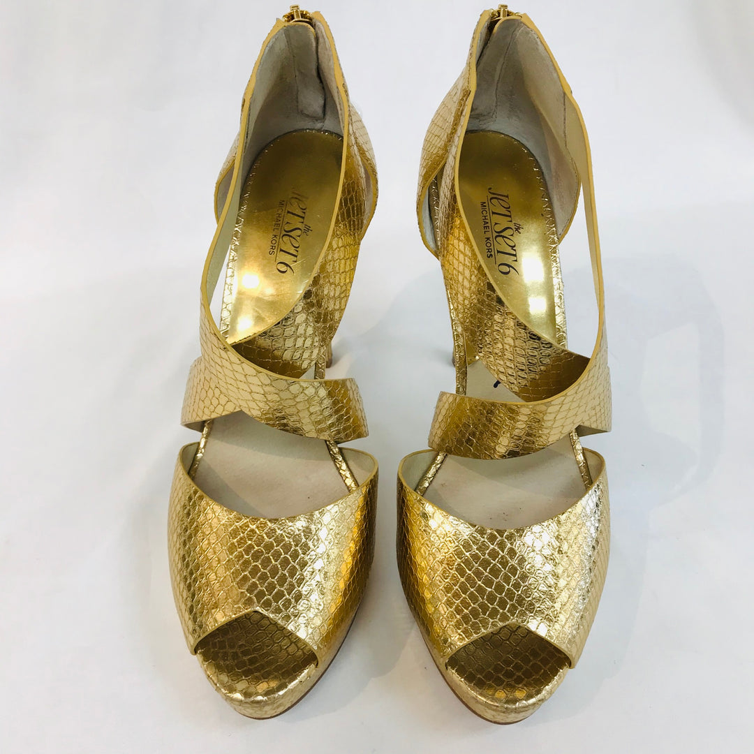 Primary Photo - BRAND: MICHAEL KORS O <BR>STYLE: SANDALS HIGH HEEL<BR>COLOR: GOLD <BR>SIZE: 9 M<BR>SKU: 262-26211-124319<BR>AS IS