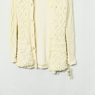 Primary Photo - BRAND: INC STYLE: SWEATER CARDIGAN FLEECE HEAVYWEIGHT COLOR: CREAM SIZE: M SKU: 262-26211-141693SLIGHT BLACK SMUDGE ON FRONT (SEE PHOTO) PROBABLY CAN COME OUT WITH DRY CLEANERS NO GUARANTEE AS IS