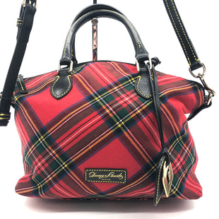 "Primary Photo - BRAND: DOONEY AND BOURKE STYLE: HANDBAG DESIGNER COLOR: PLAID SIZE: MEDIUM SKU: 262-26241-44660APPROX. 10.75""L X 10""H X 5.5""D. AS IS, SLIGHT WEAR TO METALWARE + MISSING ONE OF THE FOUR FEET"